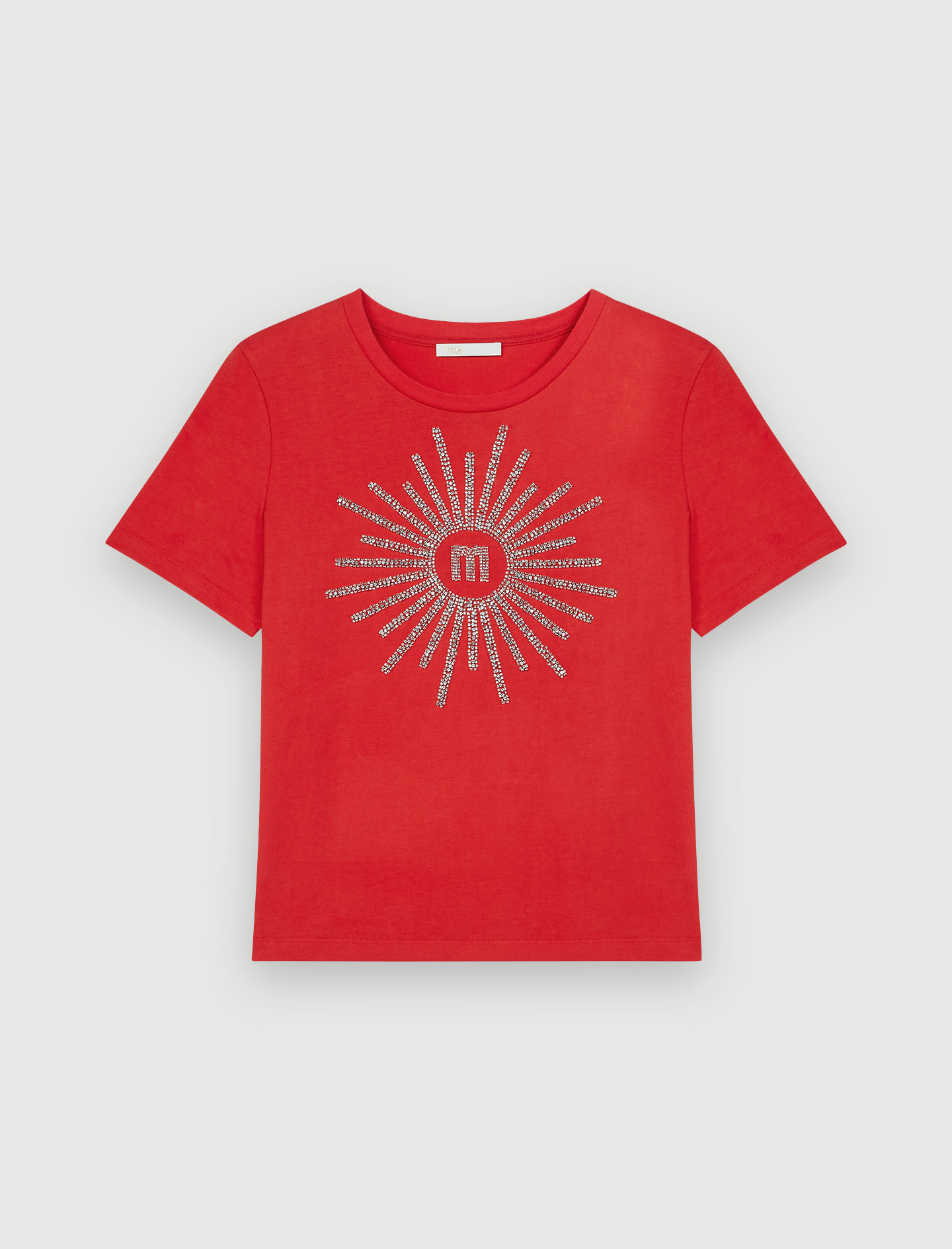 T-shirt with rhinestones and beads - Red