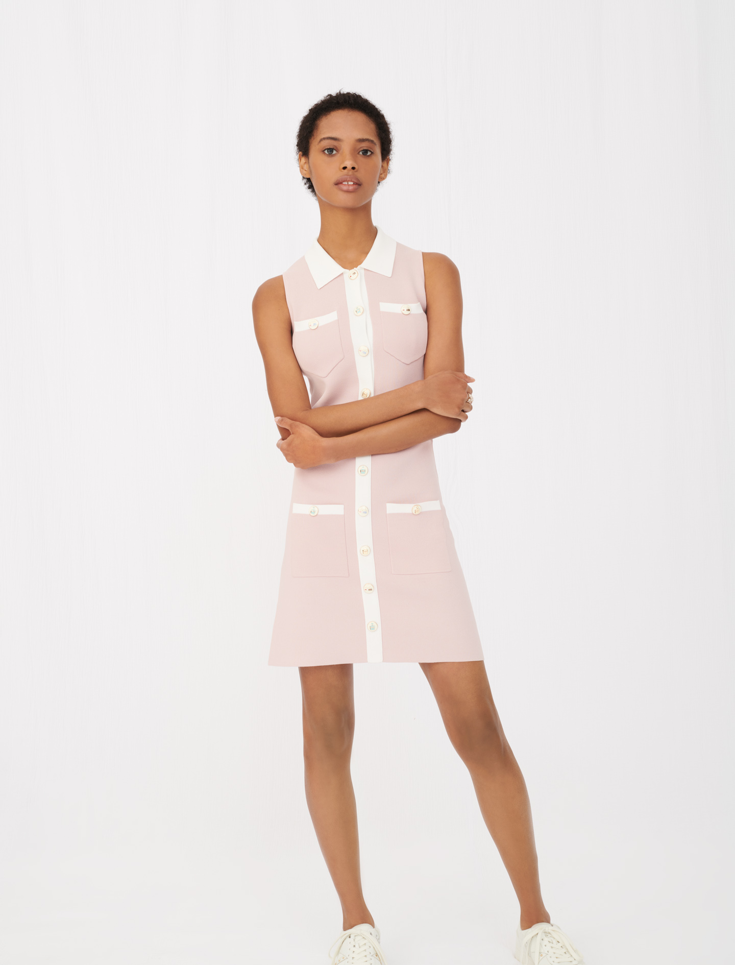 Maje Knit dress with contrasting bands