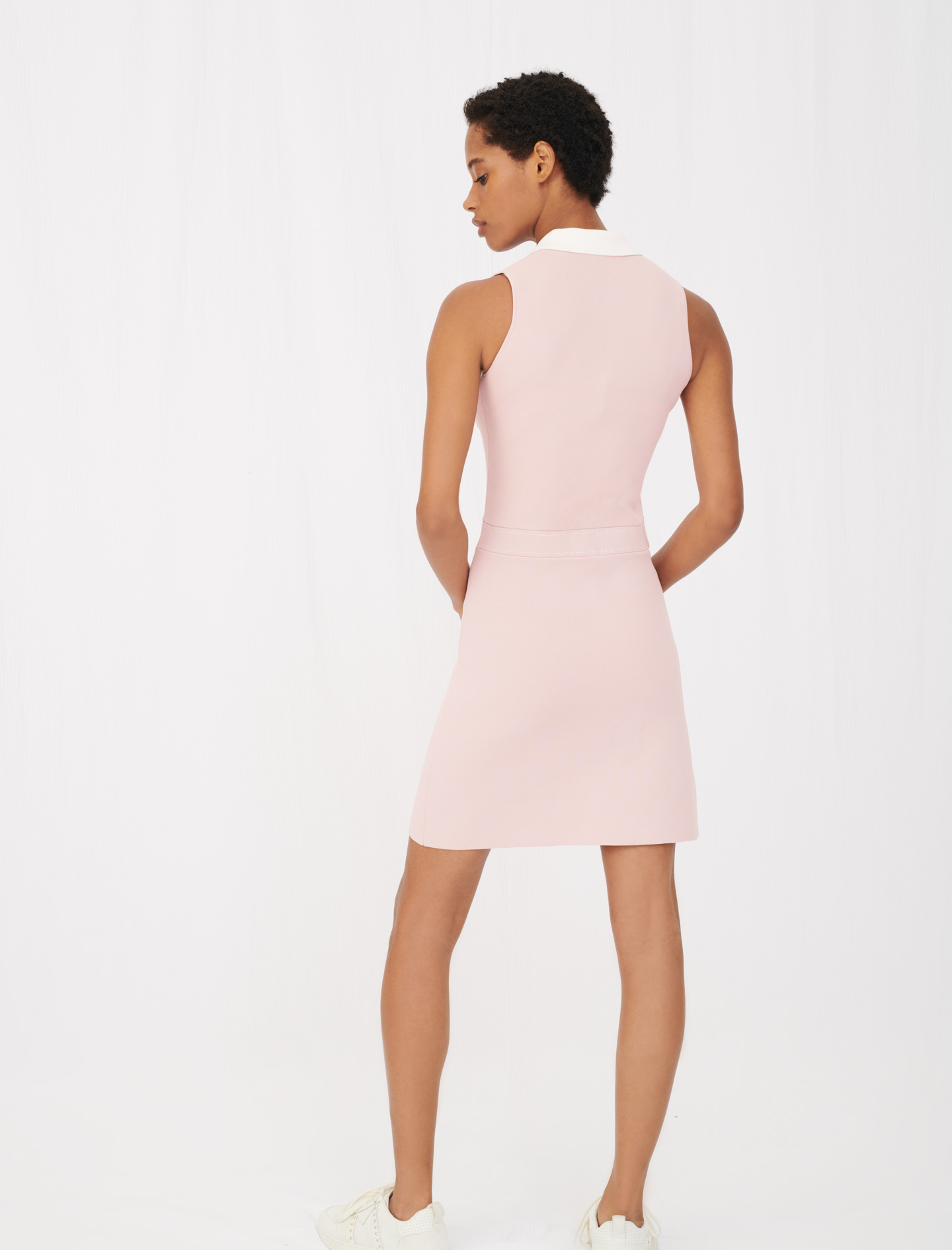 Knit dress with contrasting bands - Pink