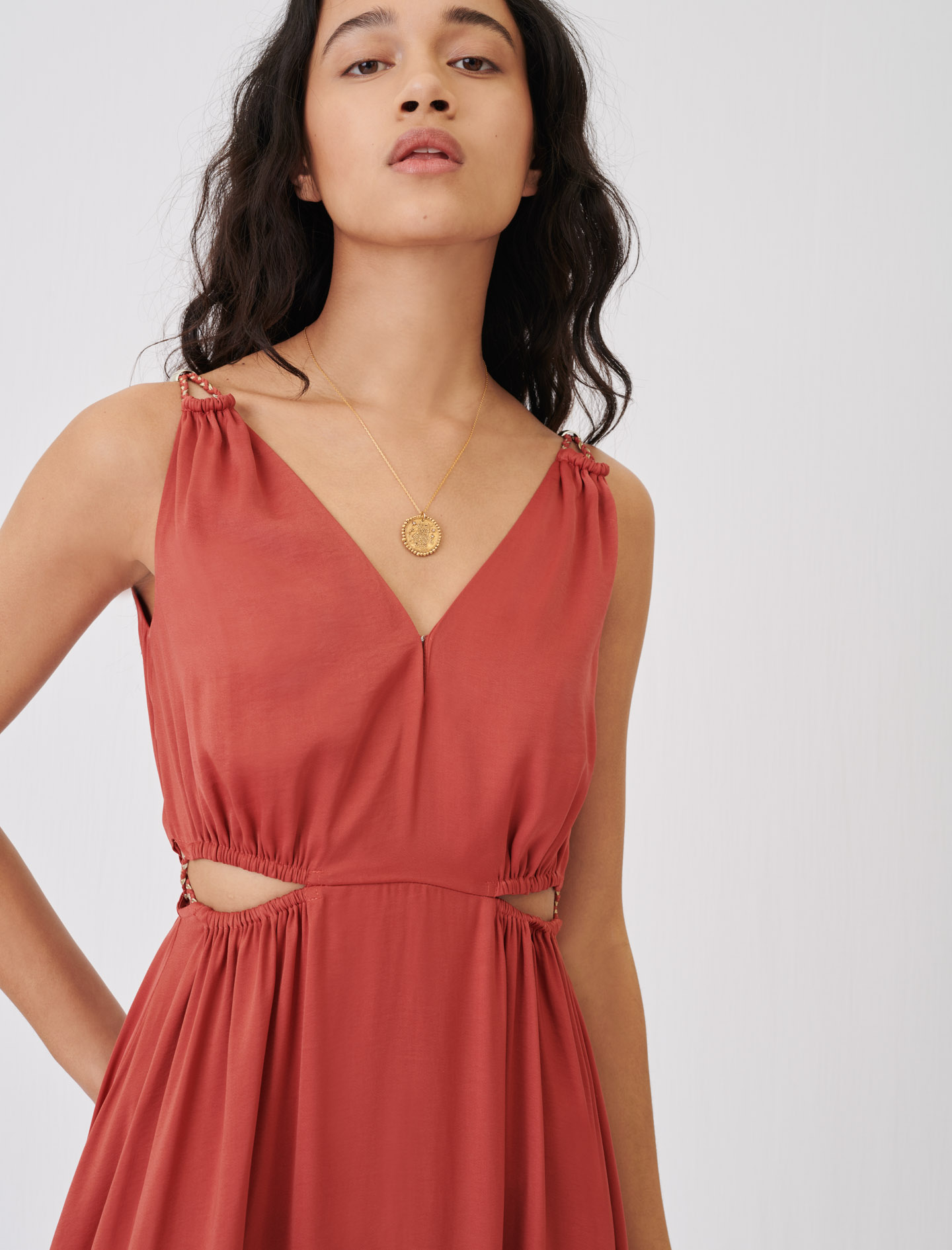 Satin dress with braided straps - Terracotta