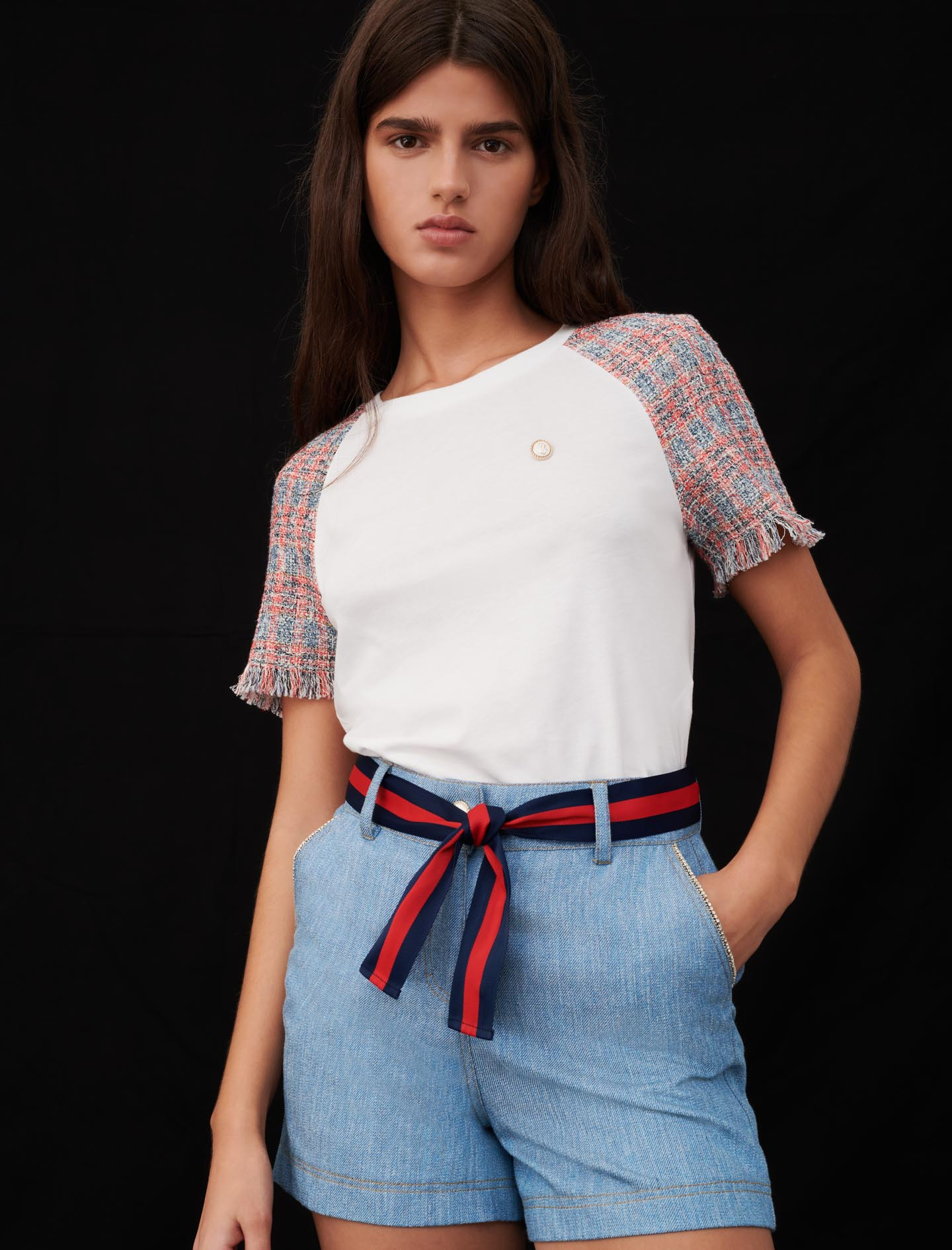 Jersey T-shirt with tweed sleeves - Ecru