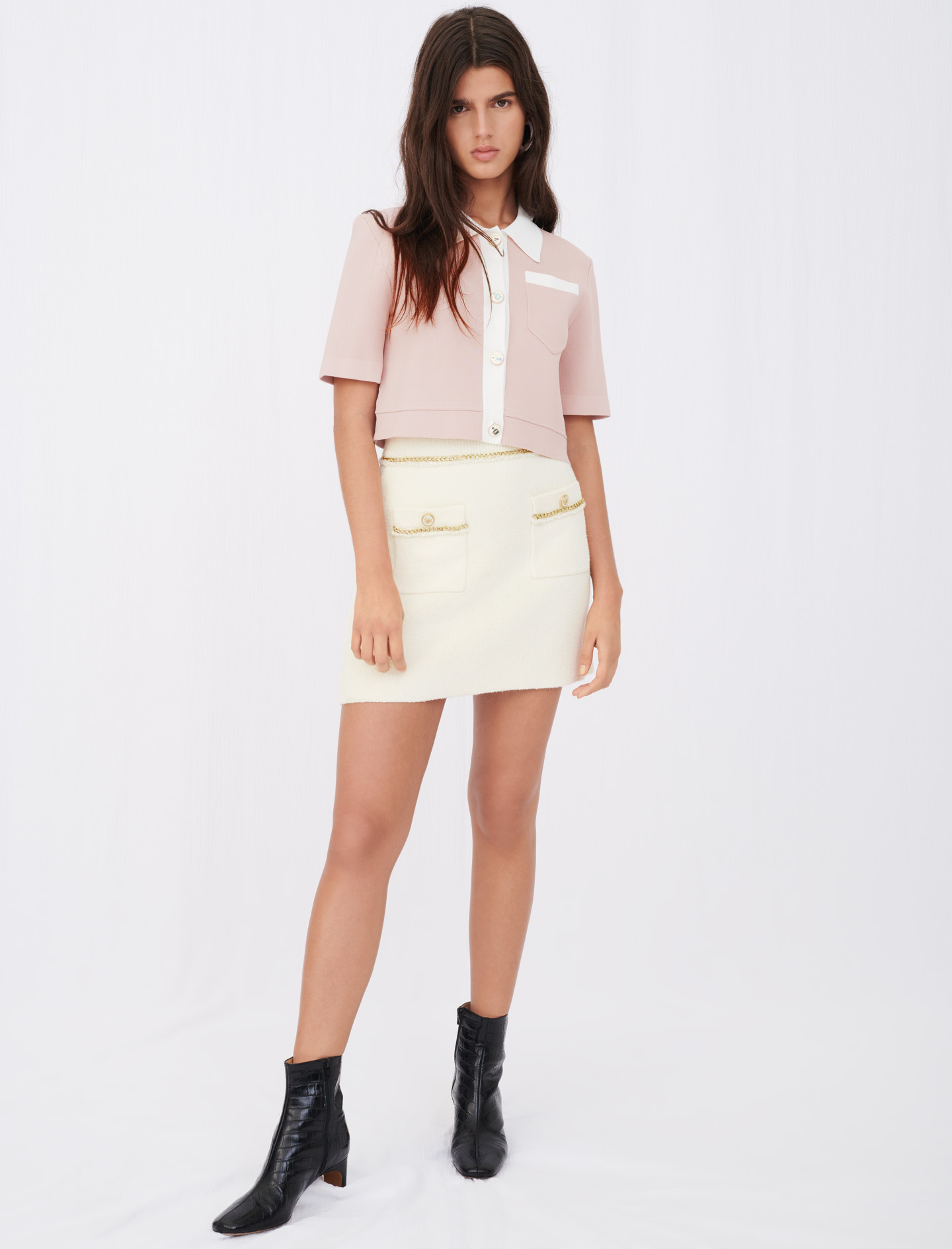 Maje Jonkyl Straight skirt in tweed with chains ecru