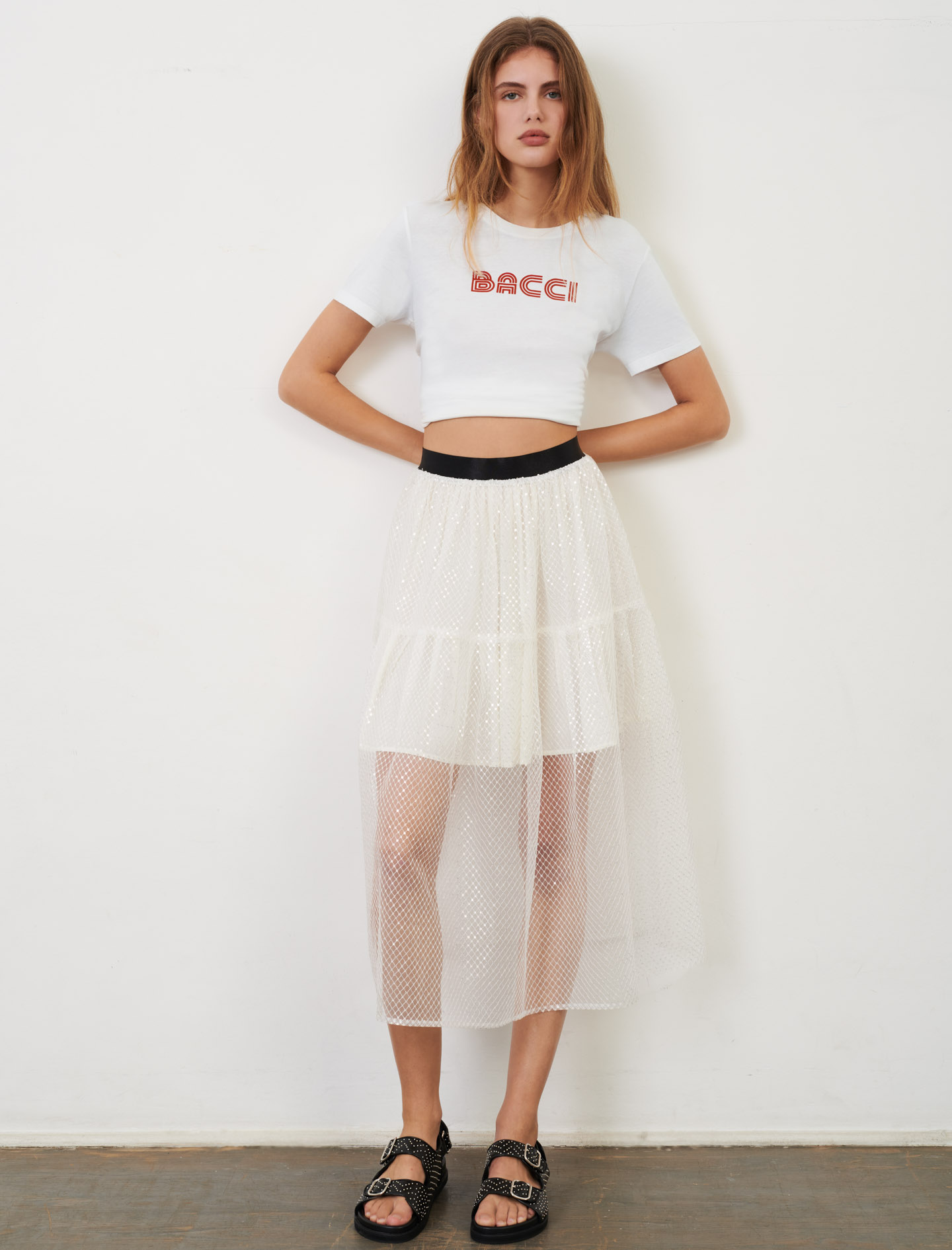 Elasticated tulle and sequin skirt - White