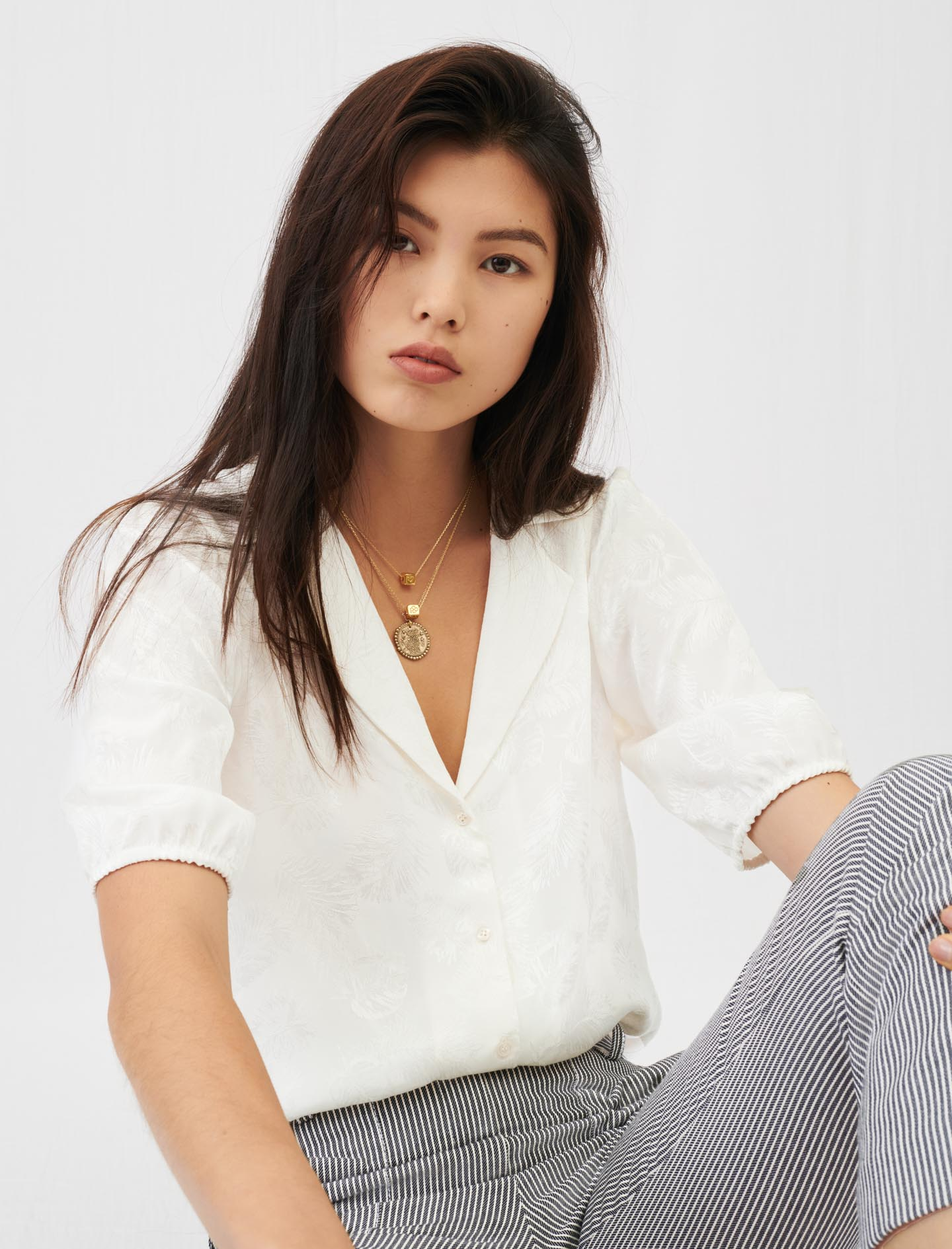 Flowing jacquard shirt - Ecru