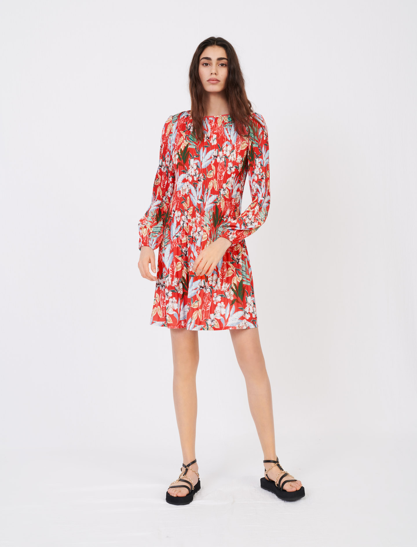 Maje All-over pleat and printed dress