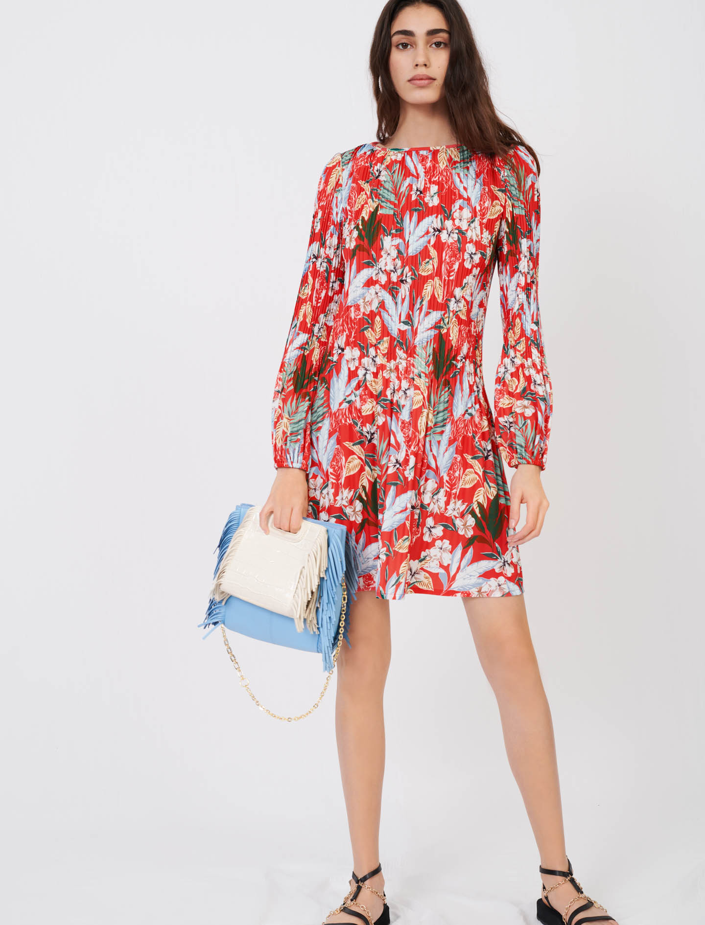 All-over pleat and printed dress - Multiclr