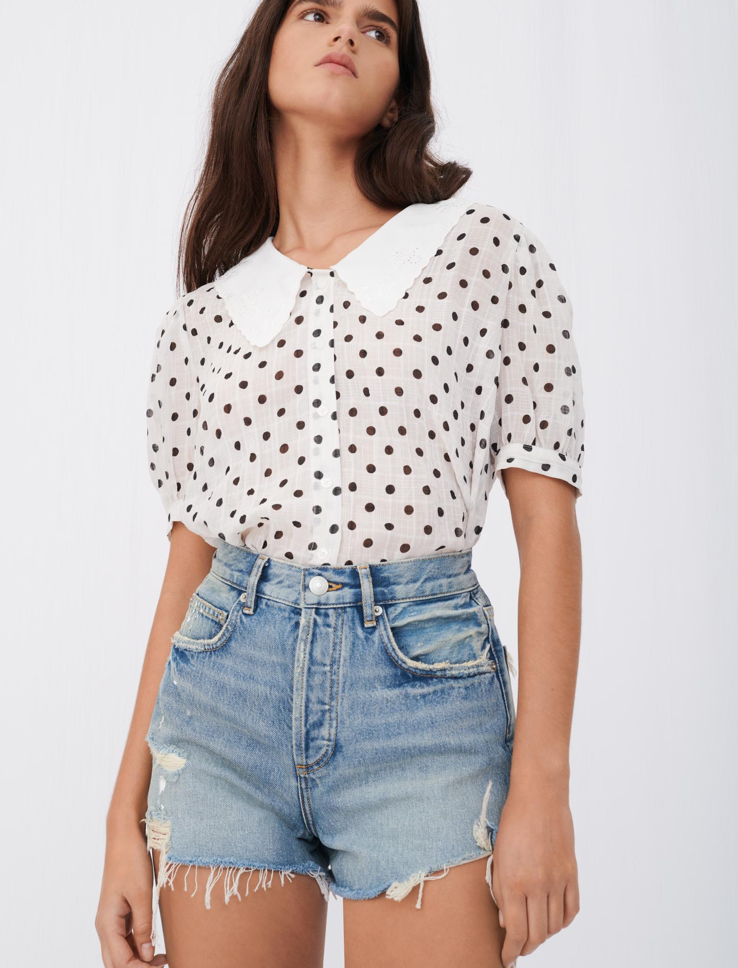 Maje Coiso top with white and black spots