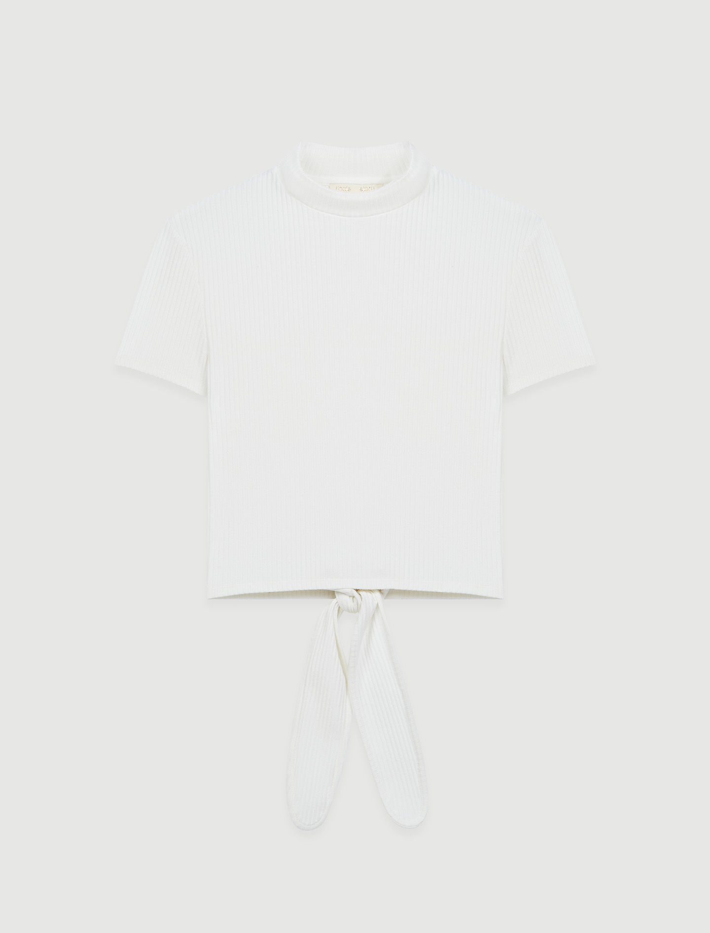 Tie-back ribbed T-shirt - White