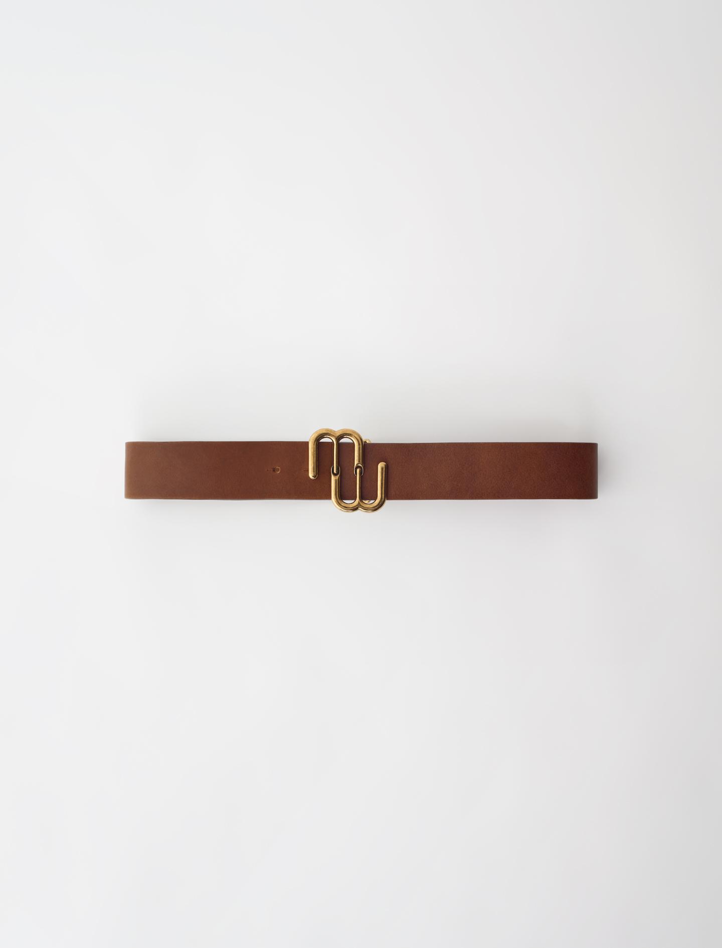 Leather double M belt - Caramel