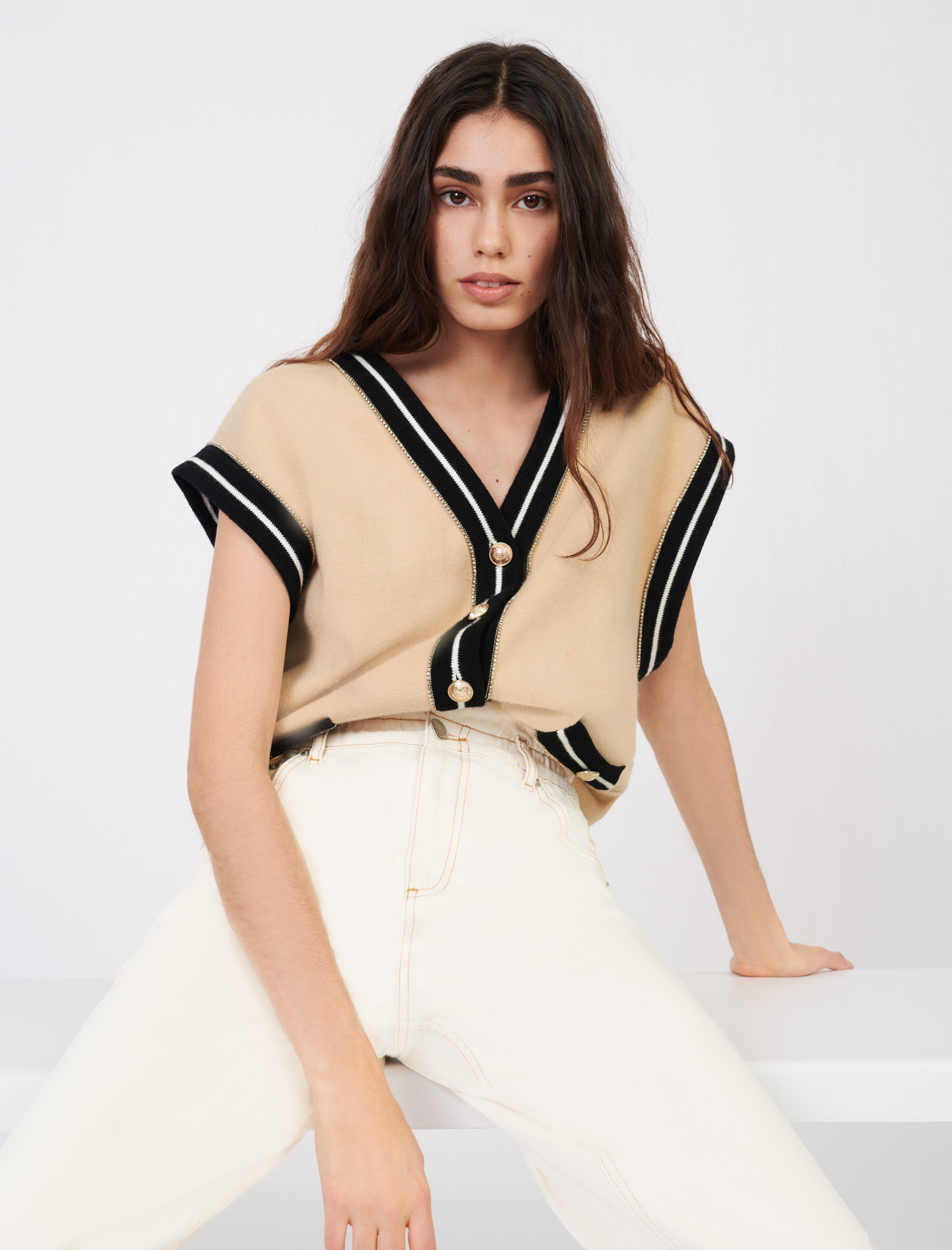 Maje Sleeveless cardigan with contrast bands