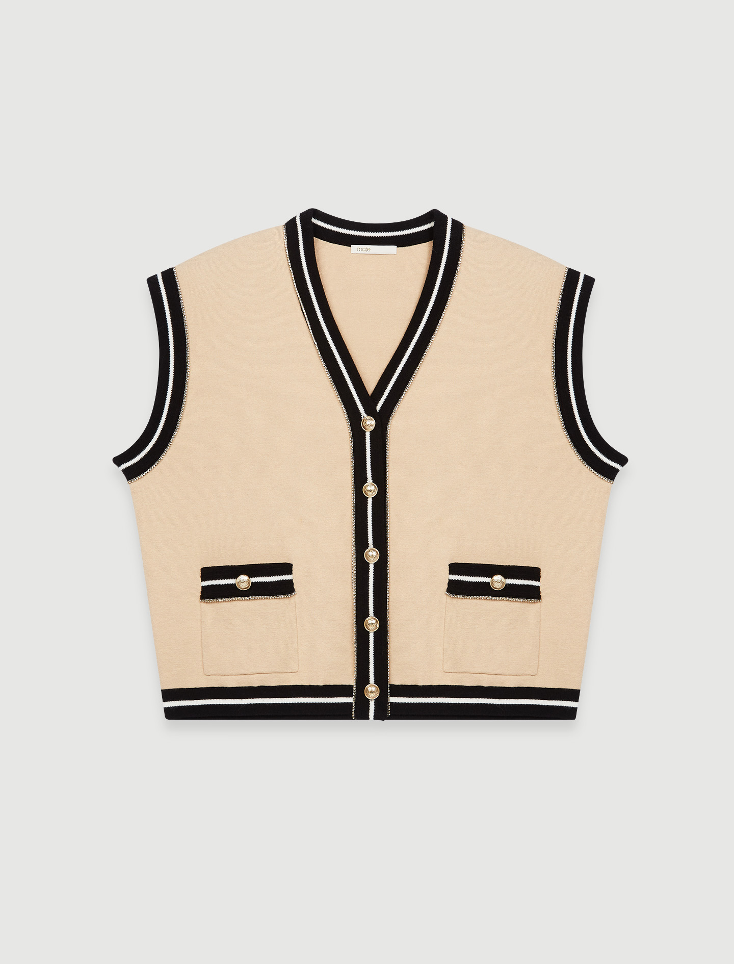 Sleeveless cardigan with contrast bands - Beige
