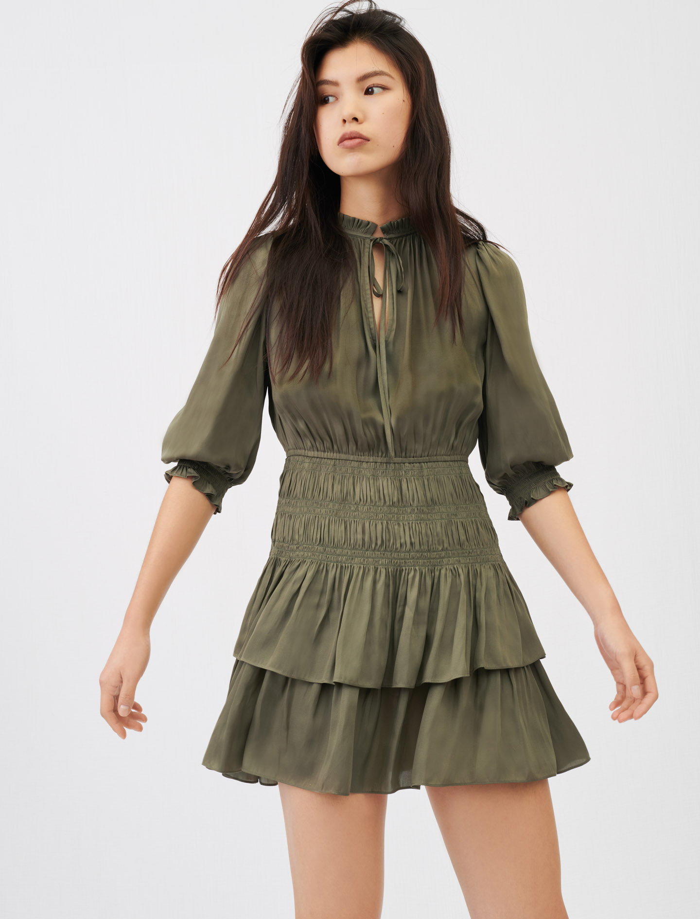 Satin dress with smocking and ruffles - Green
