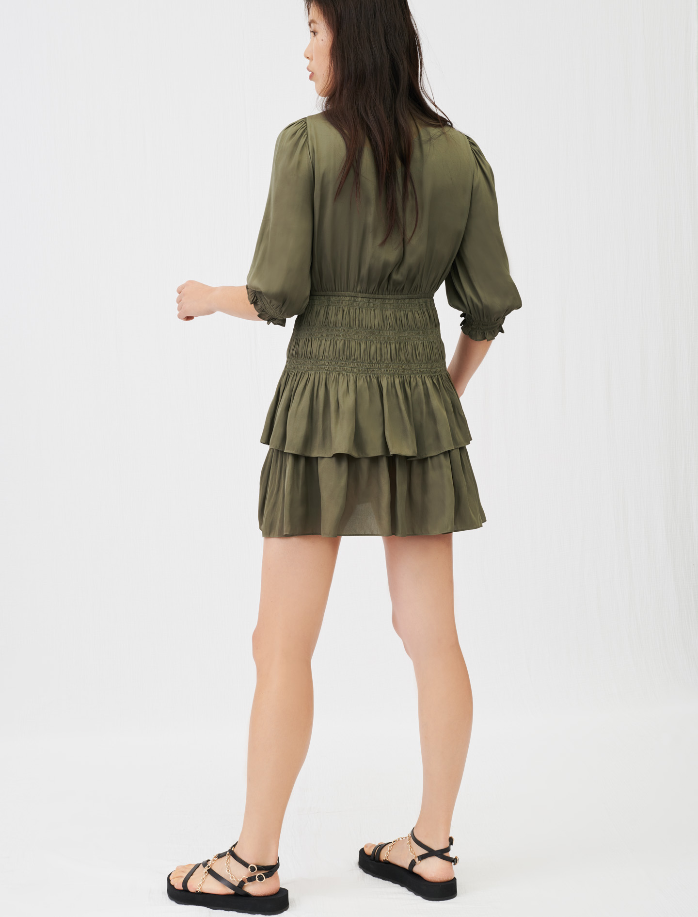 Maje Satin dress with smocking and ruffles