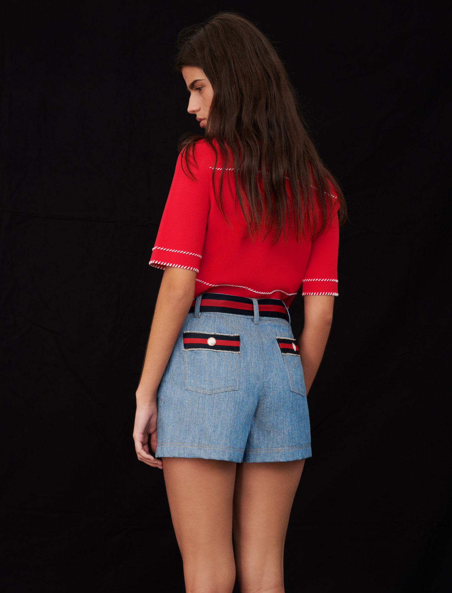 Denim shorts with contrasting belt - Multiclr