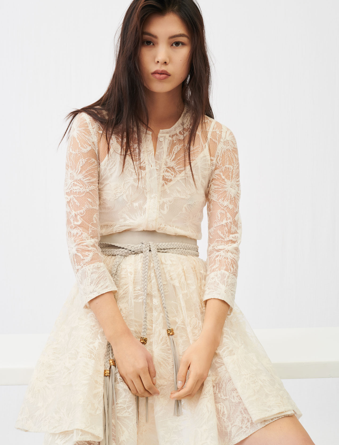 Belted lace dress - Ecru