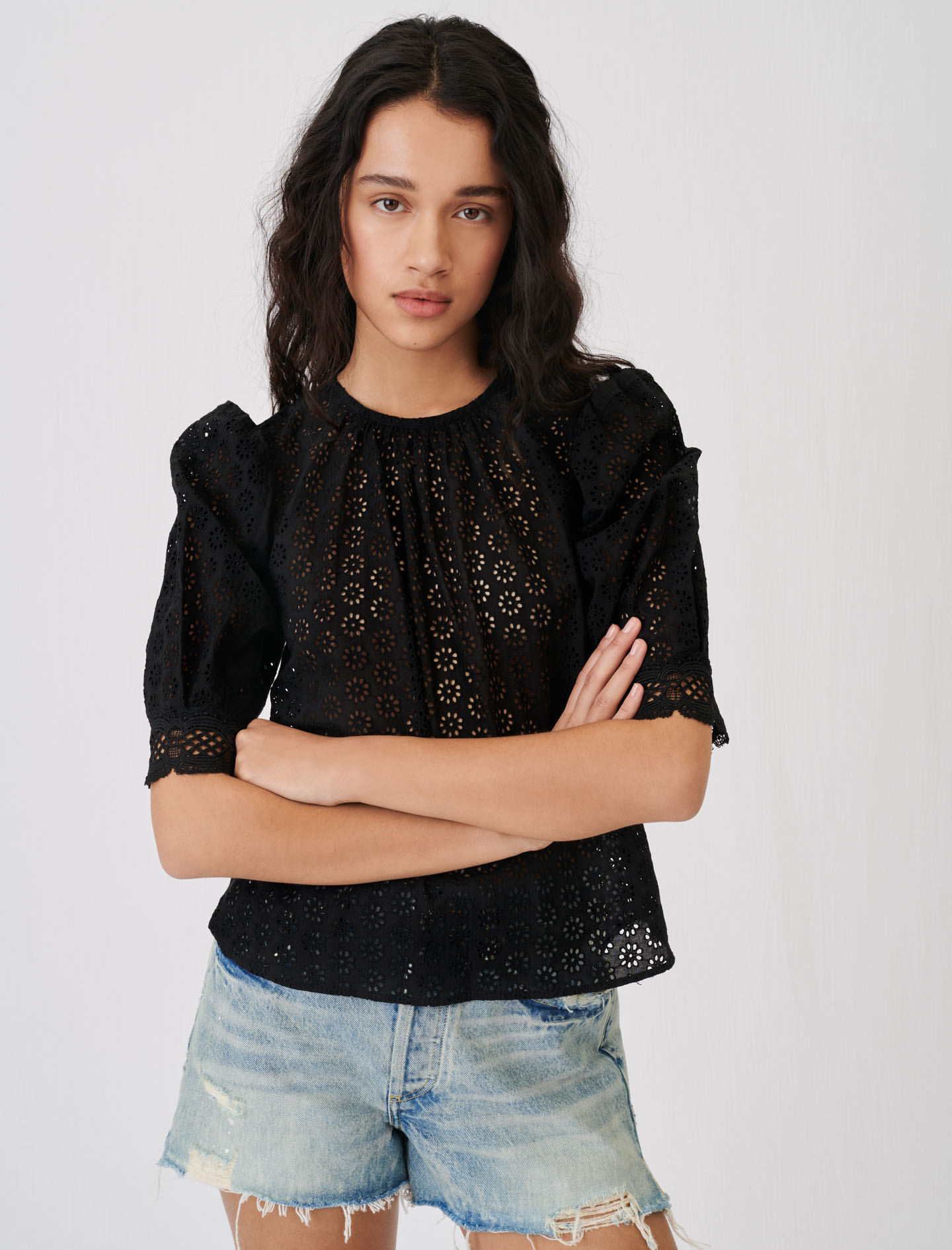 Guipure top with an open back - Black