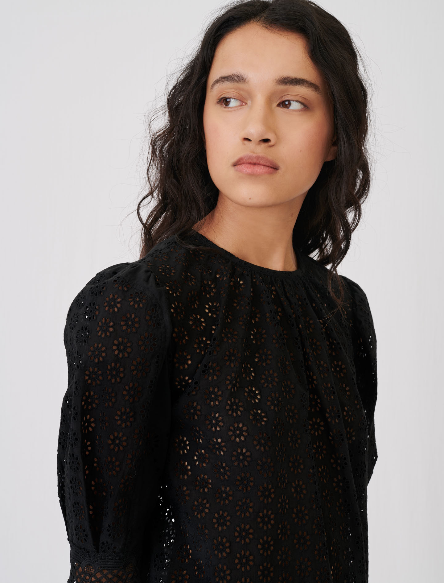 Maje Guipure top with an open back