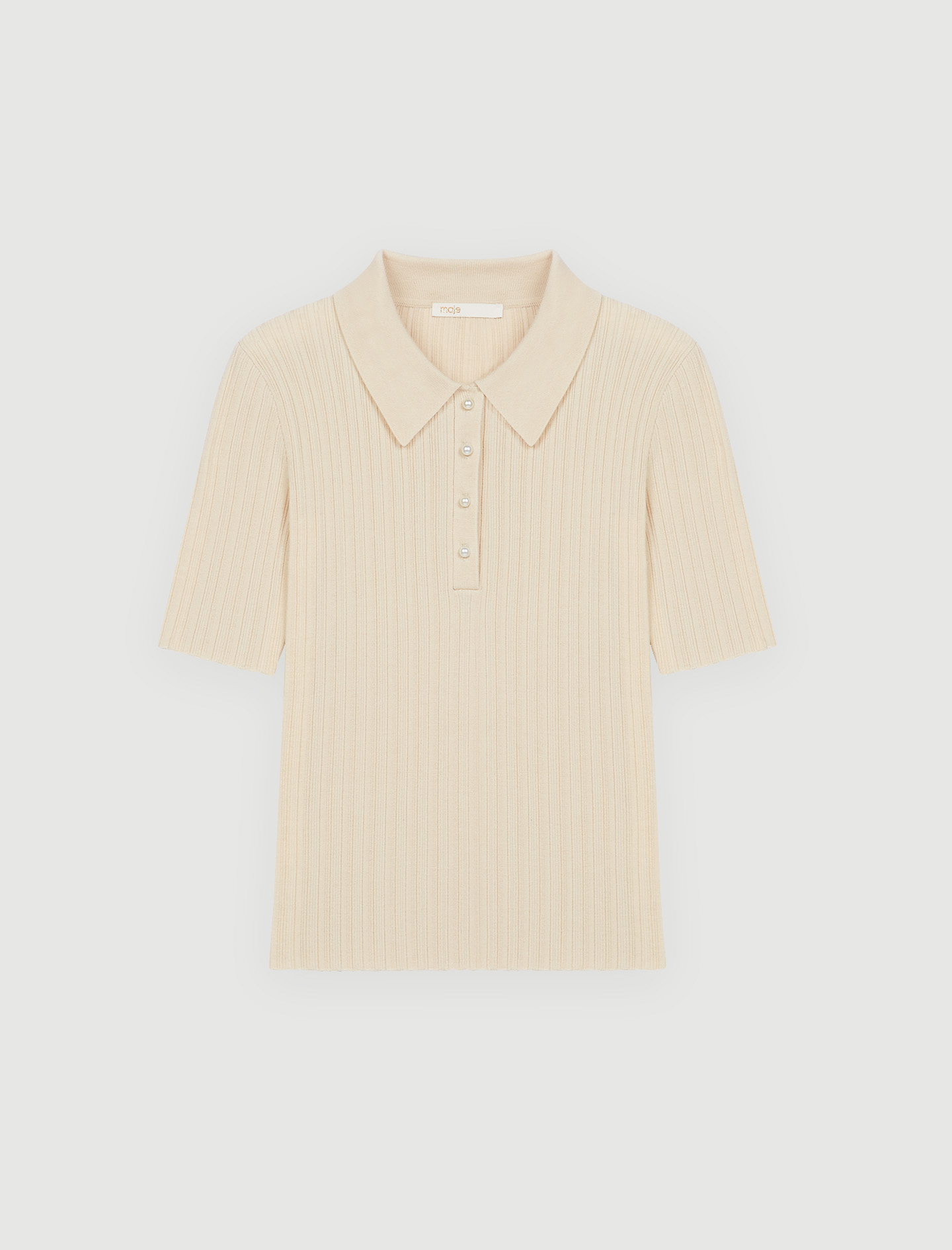maje Ribbed polo-style sweater with bead buttons