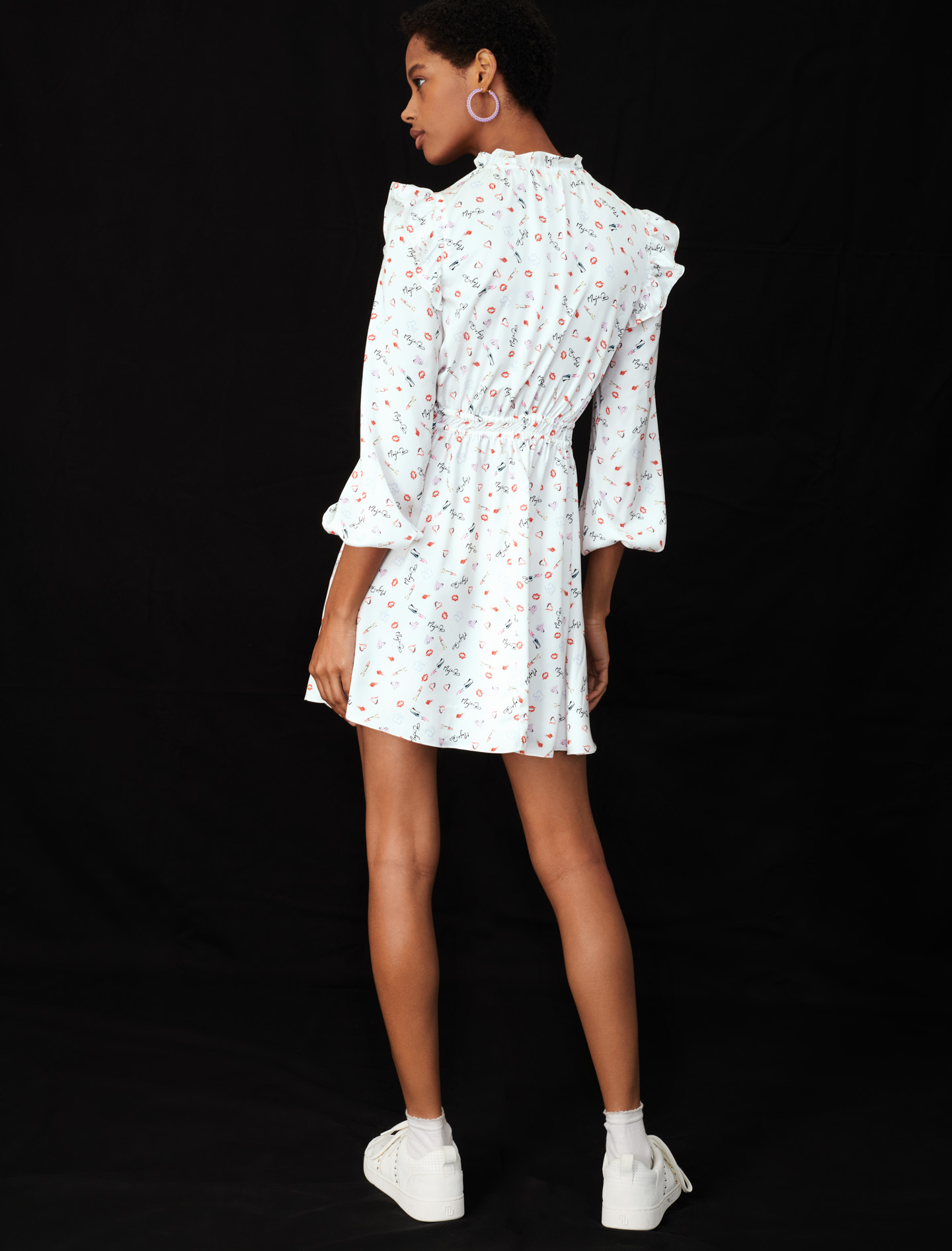 Maje White Dress with long sleeves and ruffles