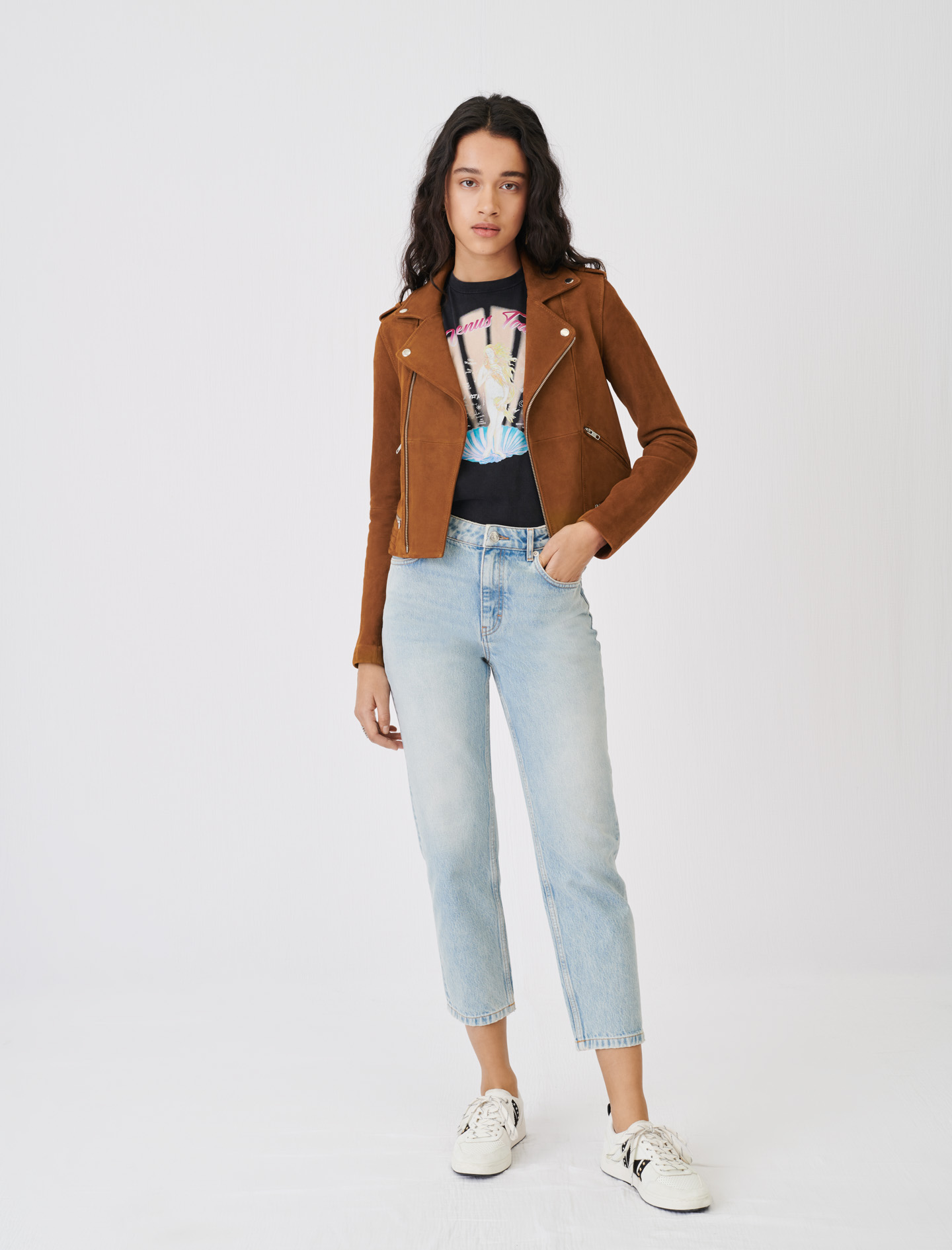 Maje Suede Leather Jacket Brown