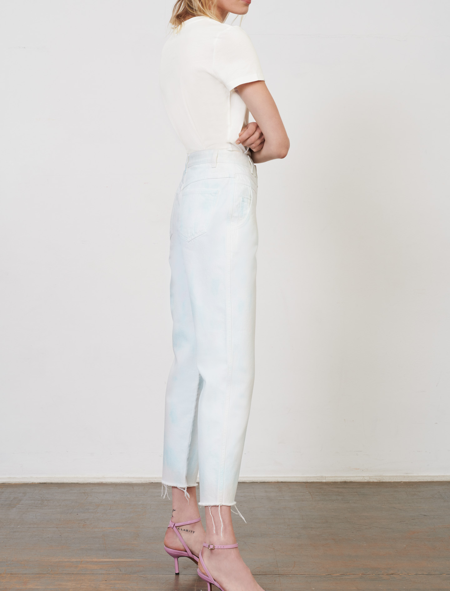 Maje Straight-cut jeans with a tie-dye print