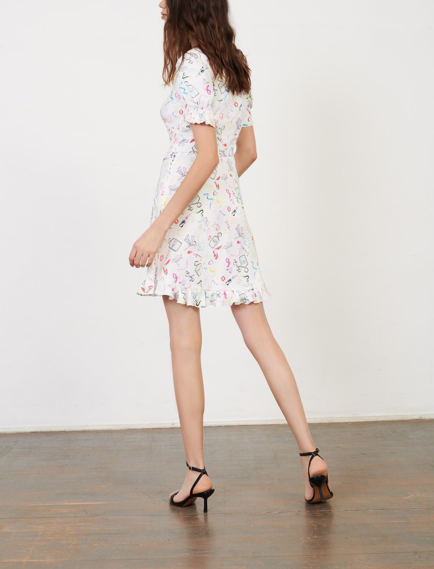 Printed jacquard and ruffle dress