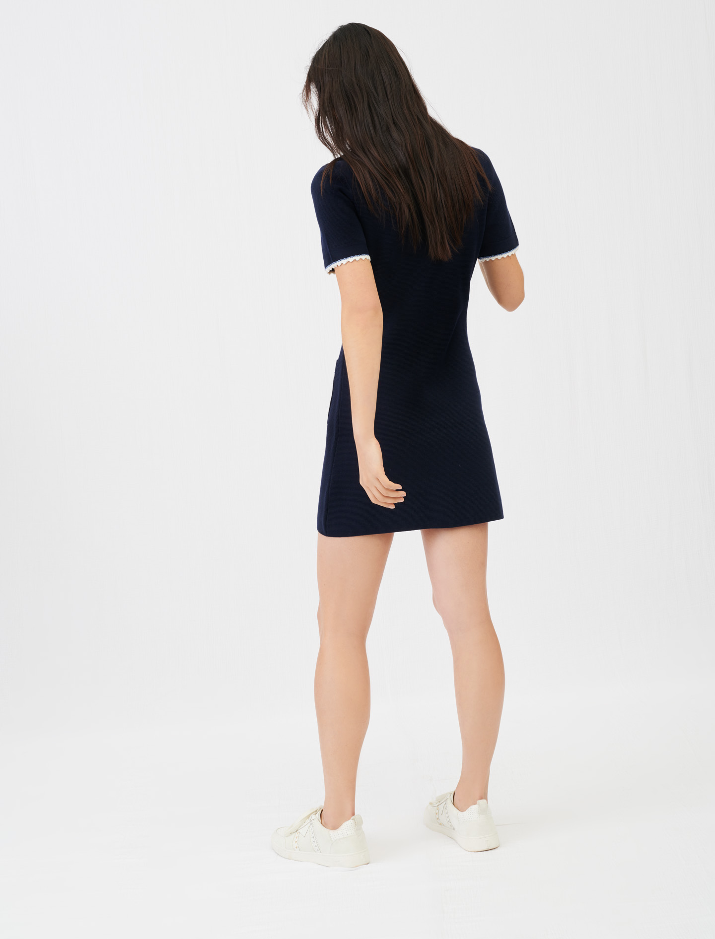 Contrast knit dress - navy