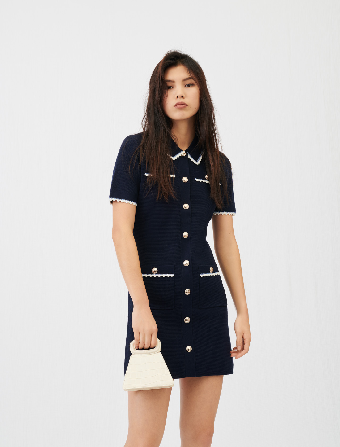 Maje Navy Knit Dress