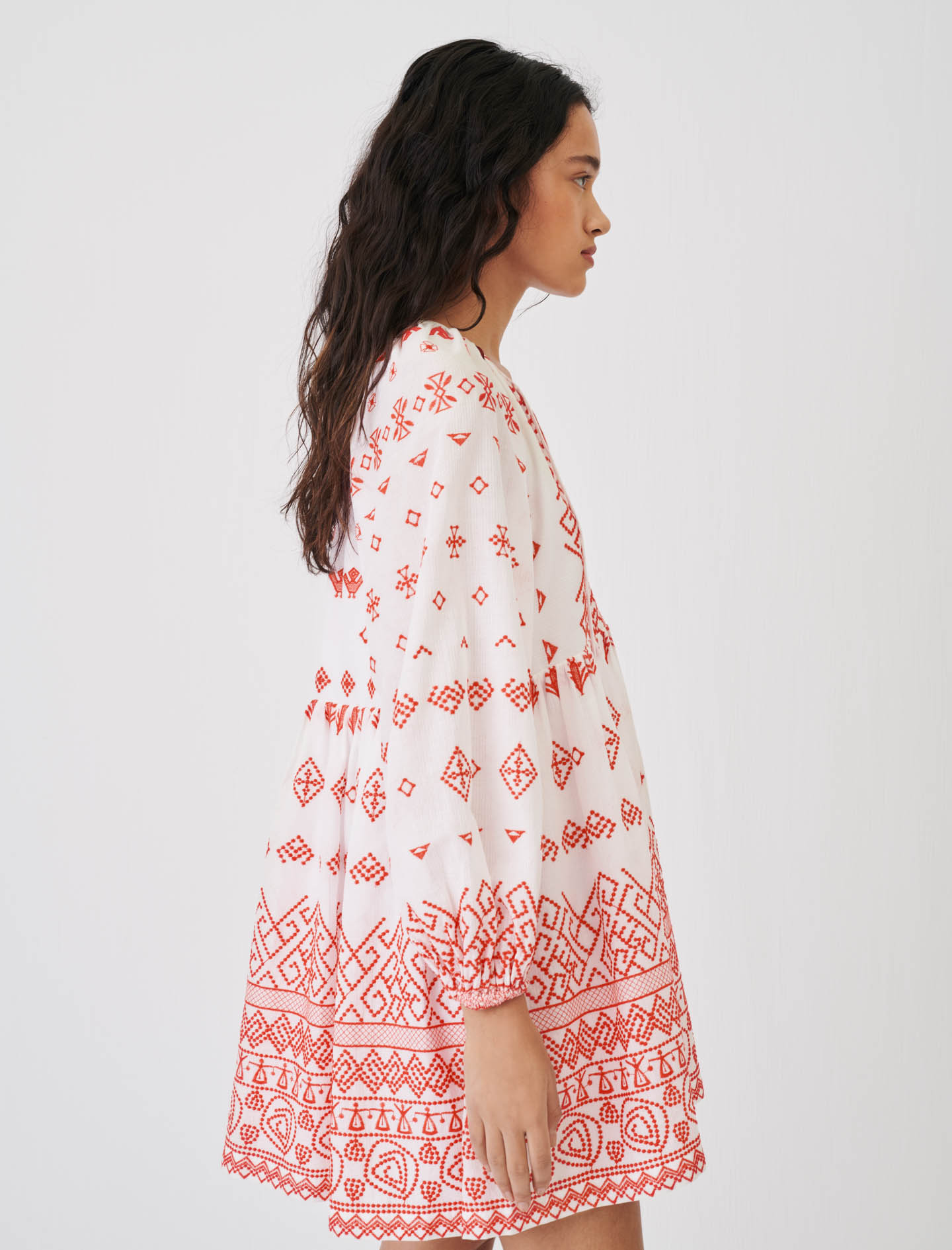 Baby-doll style fully embroidered dress