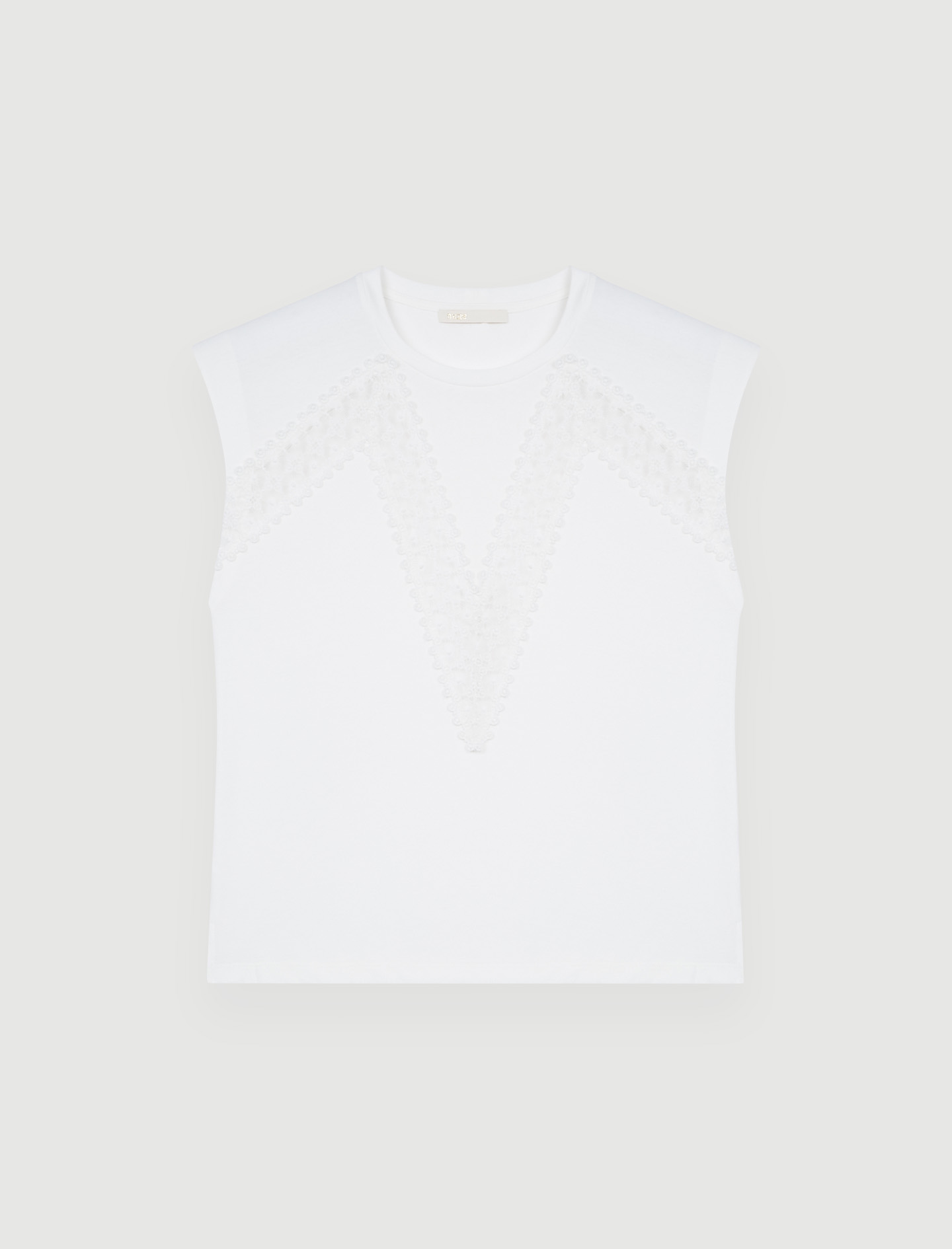 Maje T-shirt with Lace White