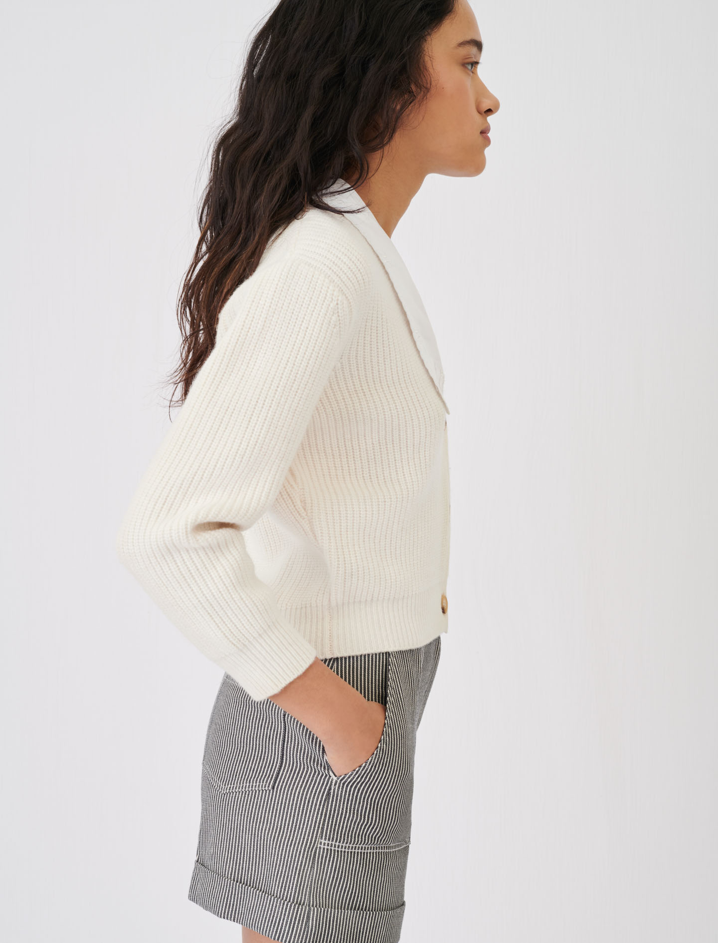 Maje Cropped White Knitted Cardigan