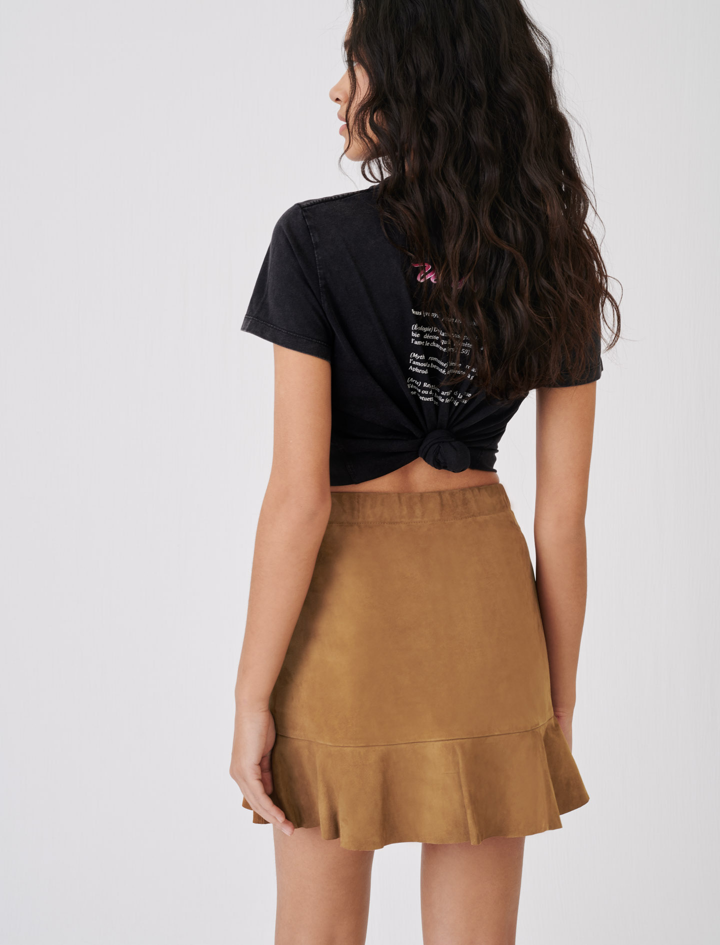 Maje Suede Leather Jendrie Skirt