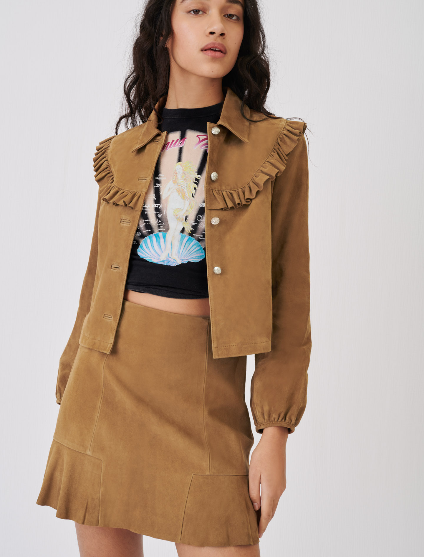 Ruffled Suede Skirt - Camel