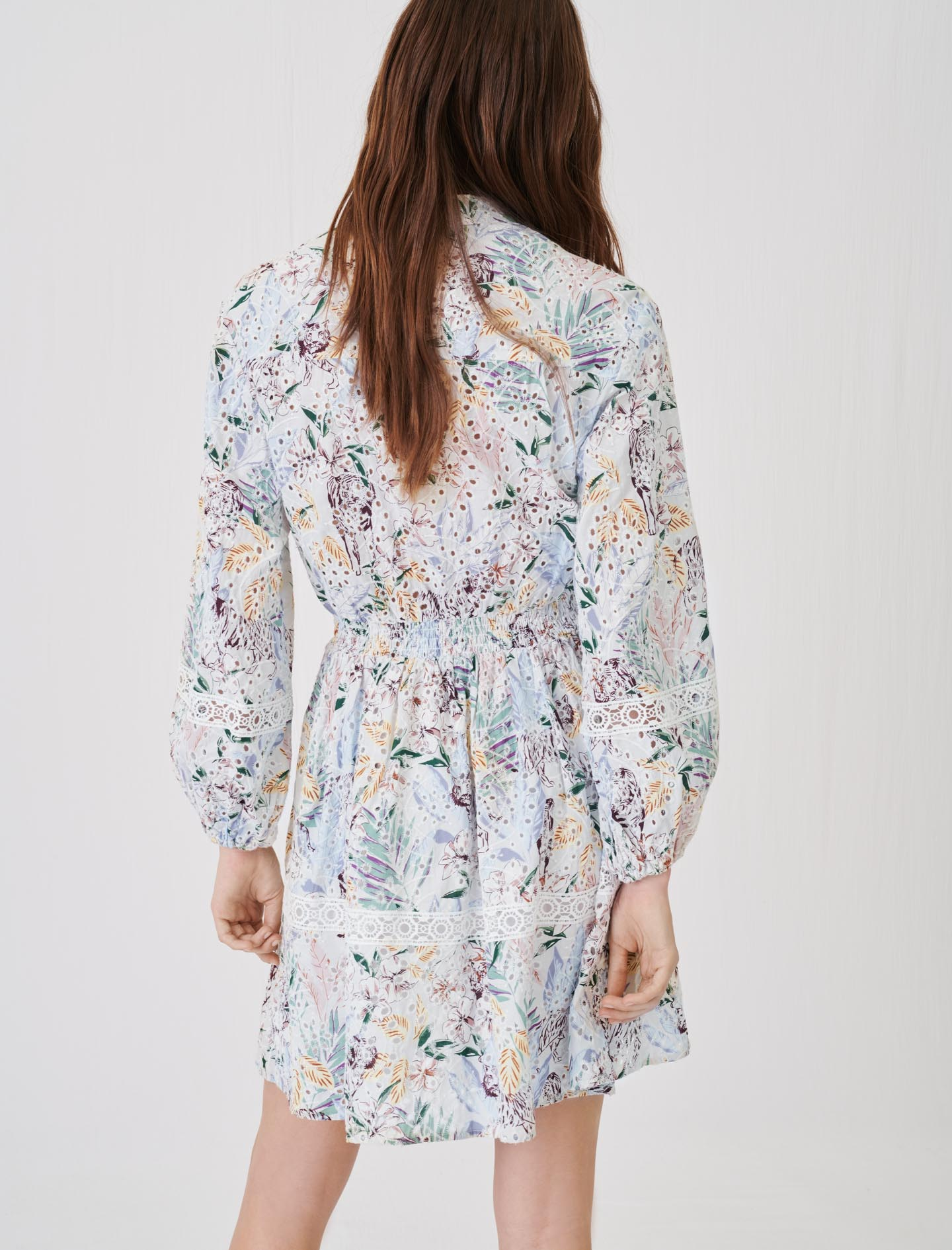 Printed guipure lace dress with trims
