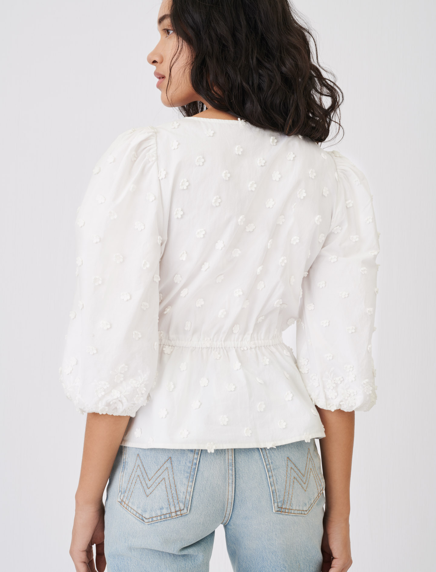 Embroidered top, gathered at the waist