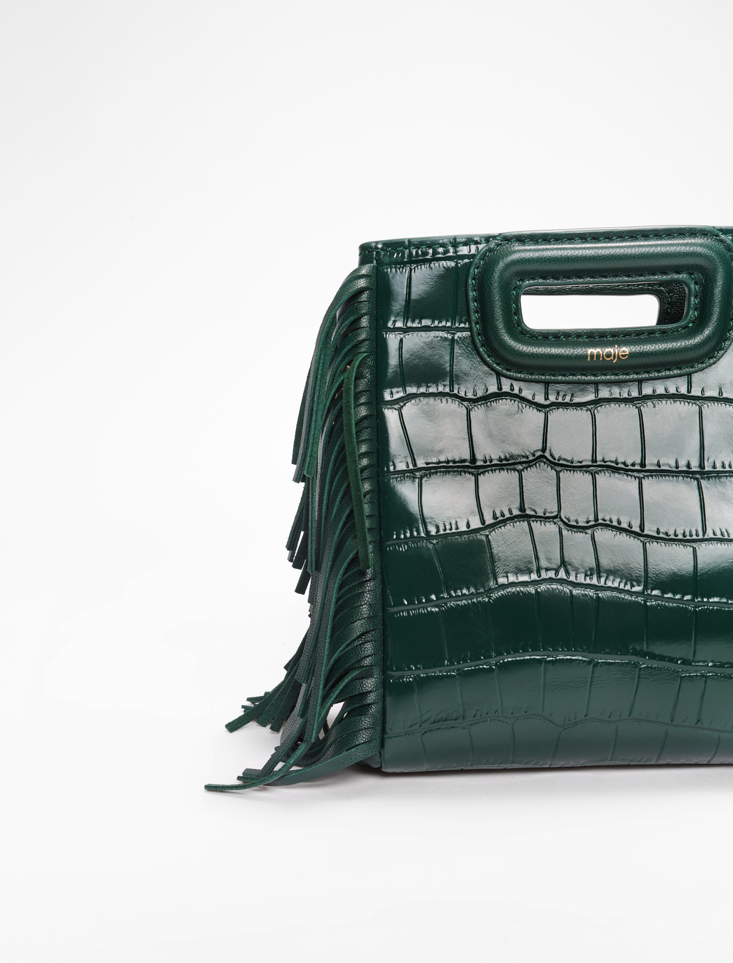 Mini embossed leather M bag with chain - Green