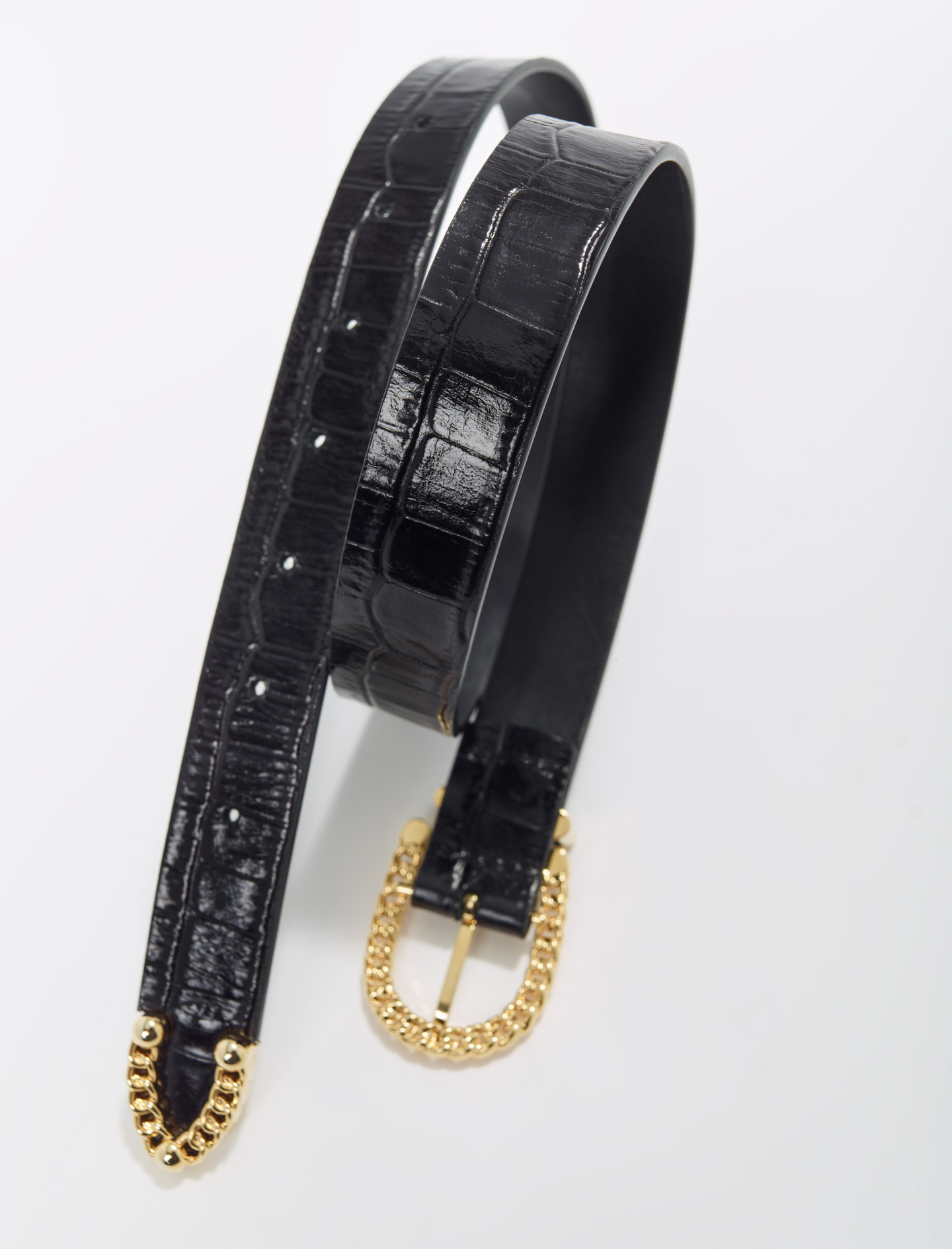 Black Croc-effect embossed leather belt - Black