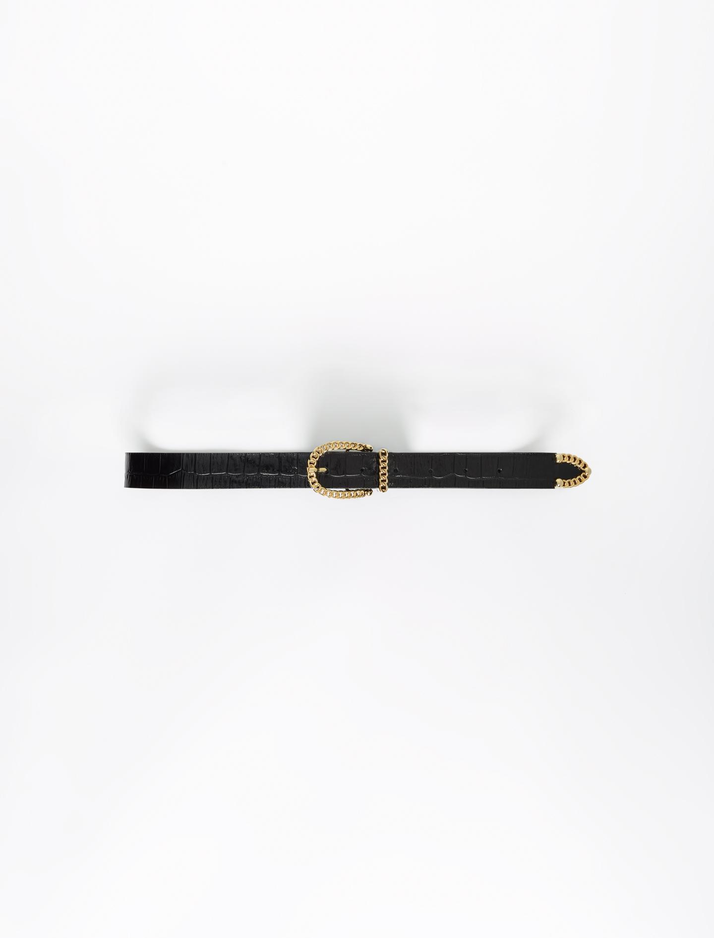 Maje Black Croc-effect embossed leather belt