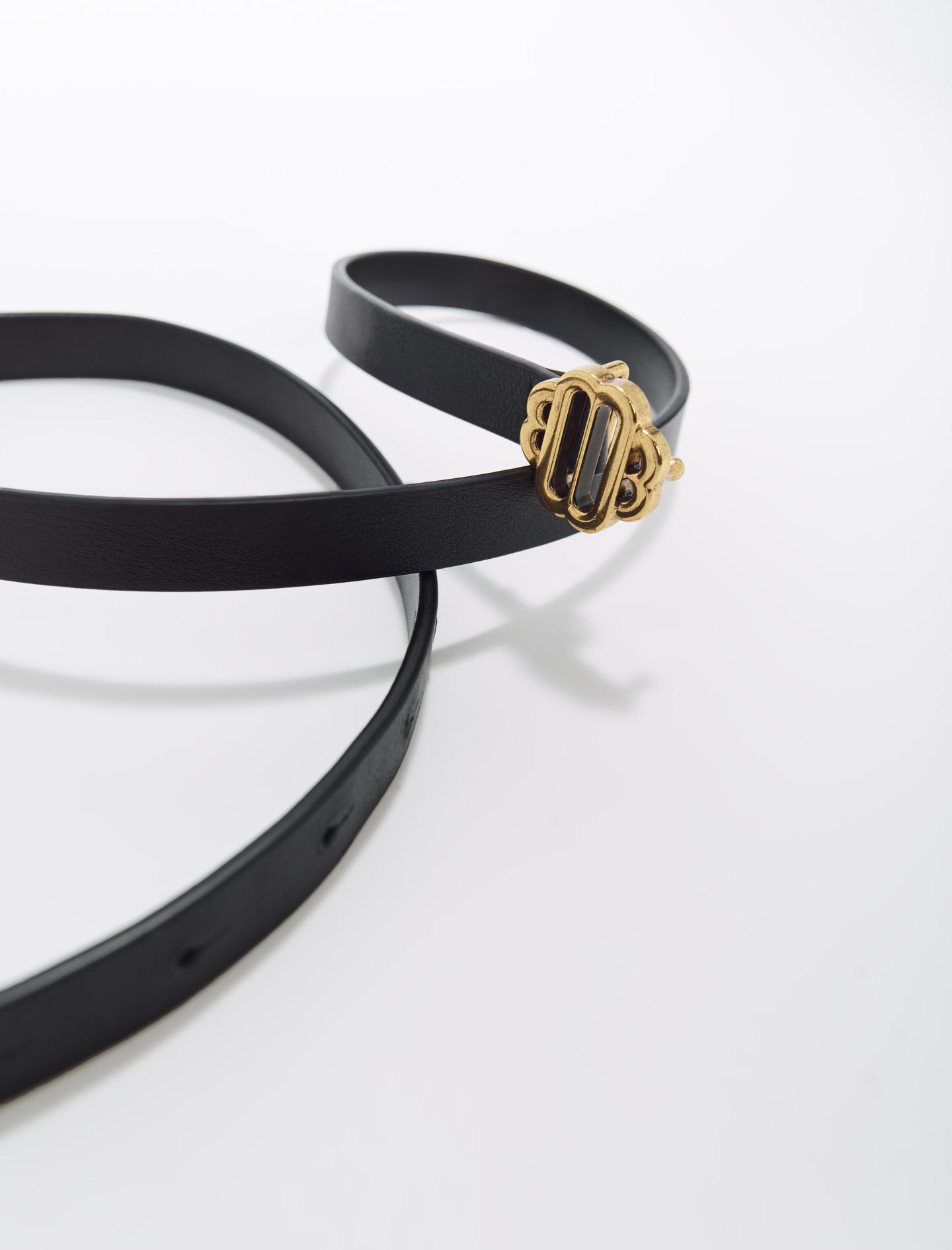 Narrow Black Leather Belt Gold Buckle - Black