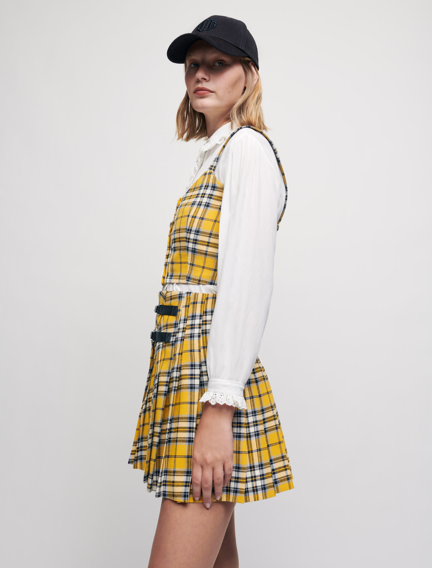Kilt-style checked pleated skirt - Yellow