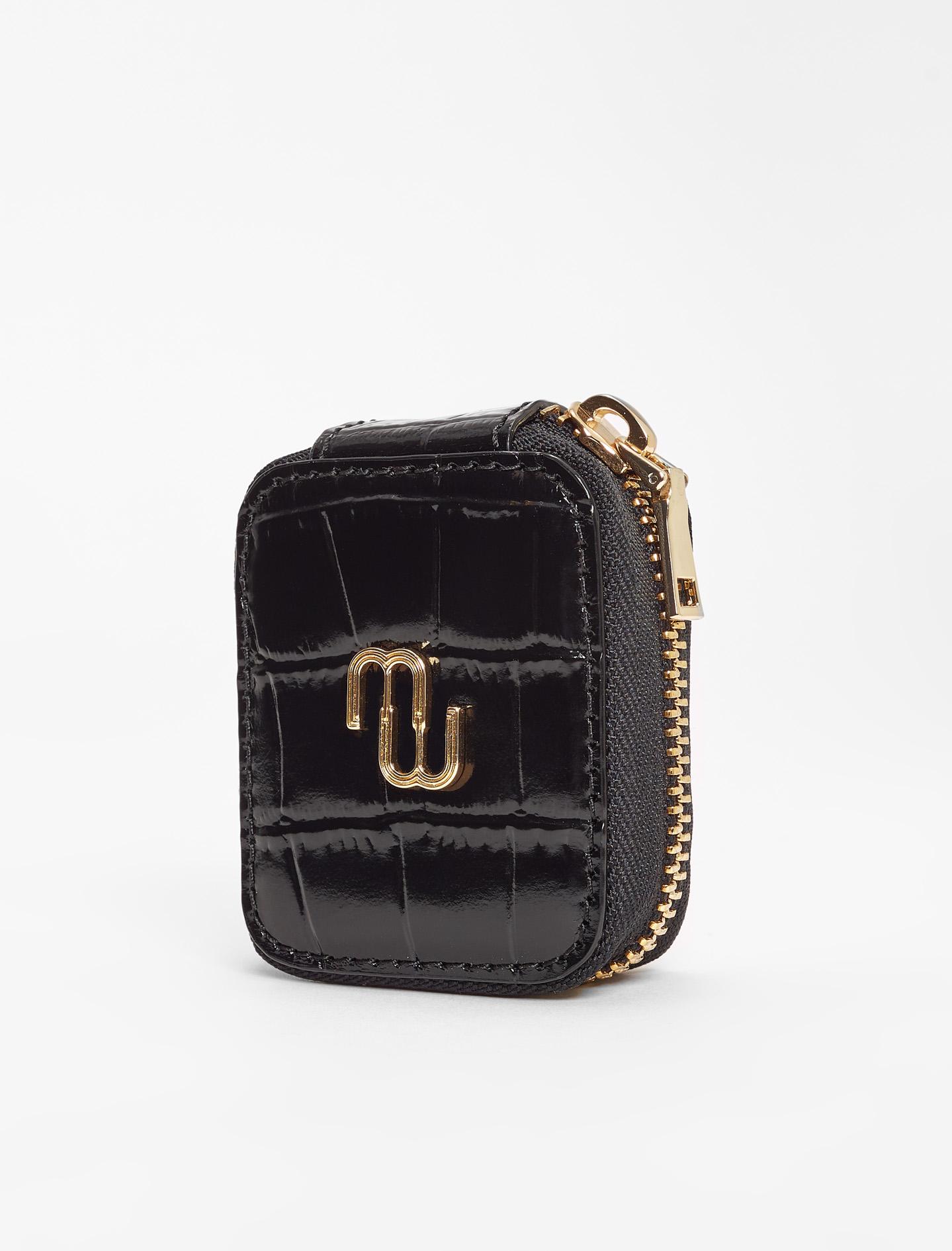 Embossed leather earphone case - Black
