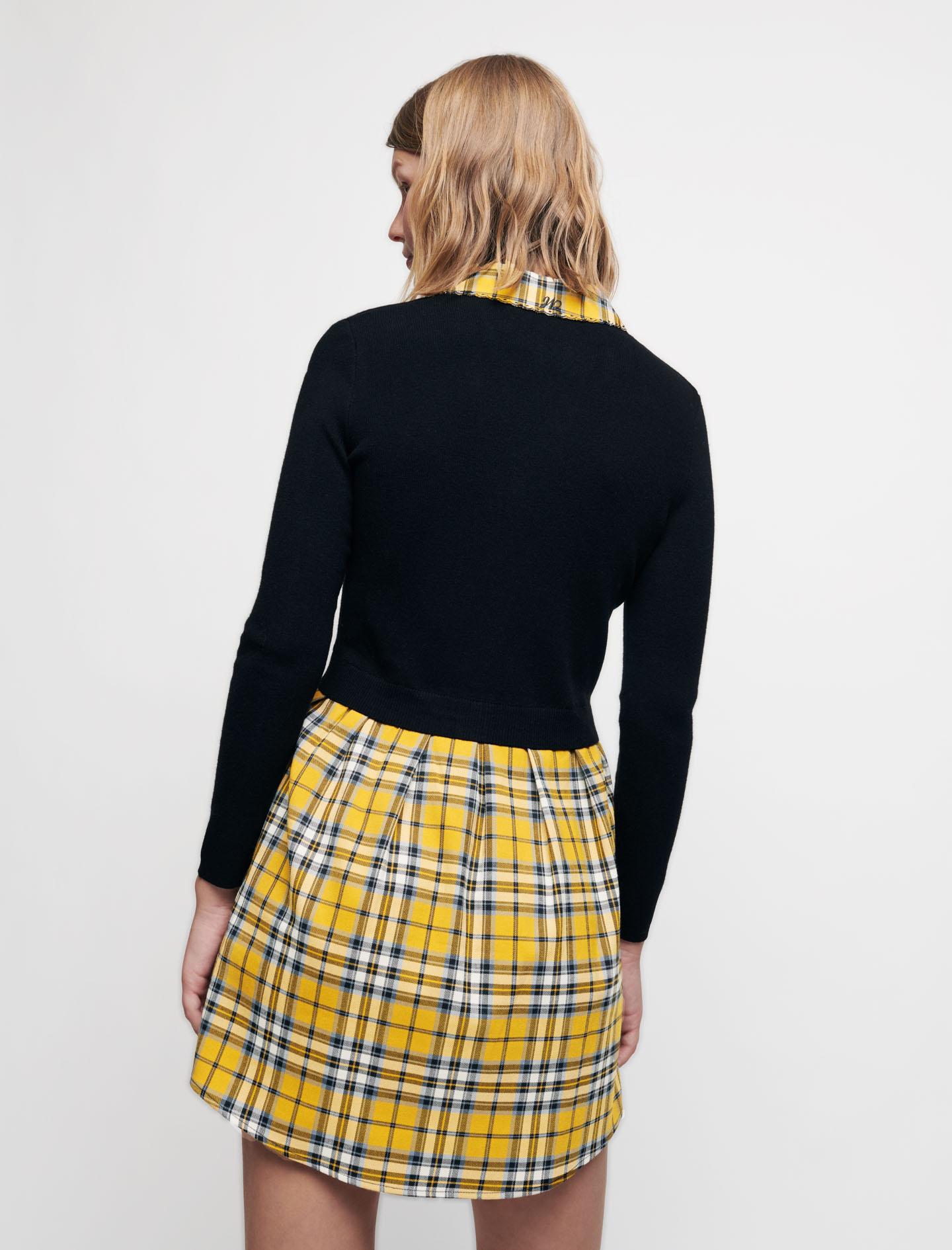 Trompe-l'oeil tartan-style dress - Yellow
