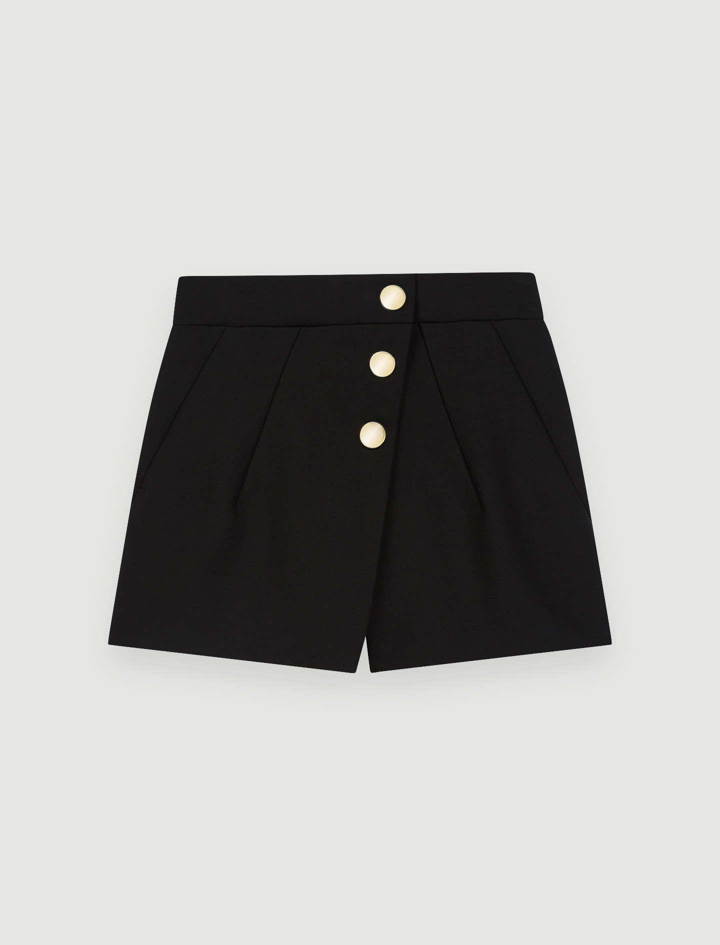 Trompe l'oleil shorts, mirrored buttons - Black