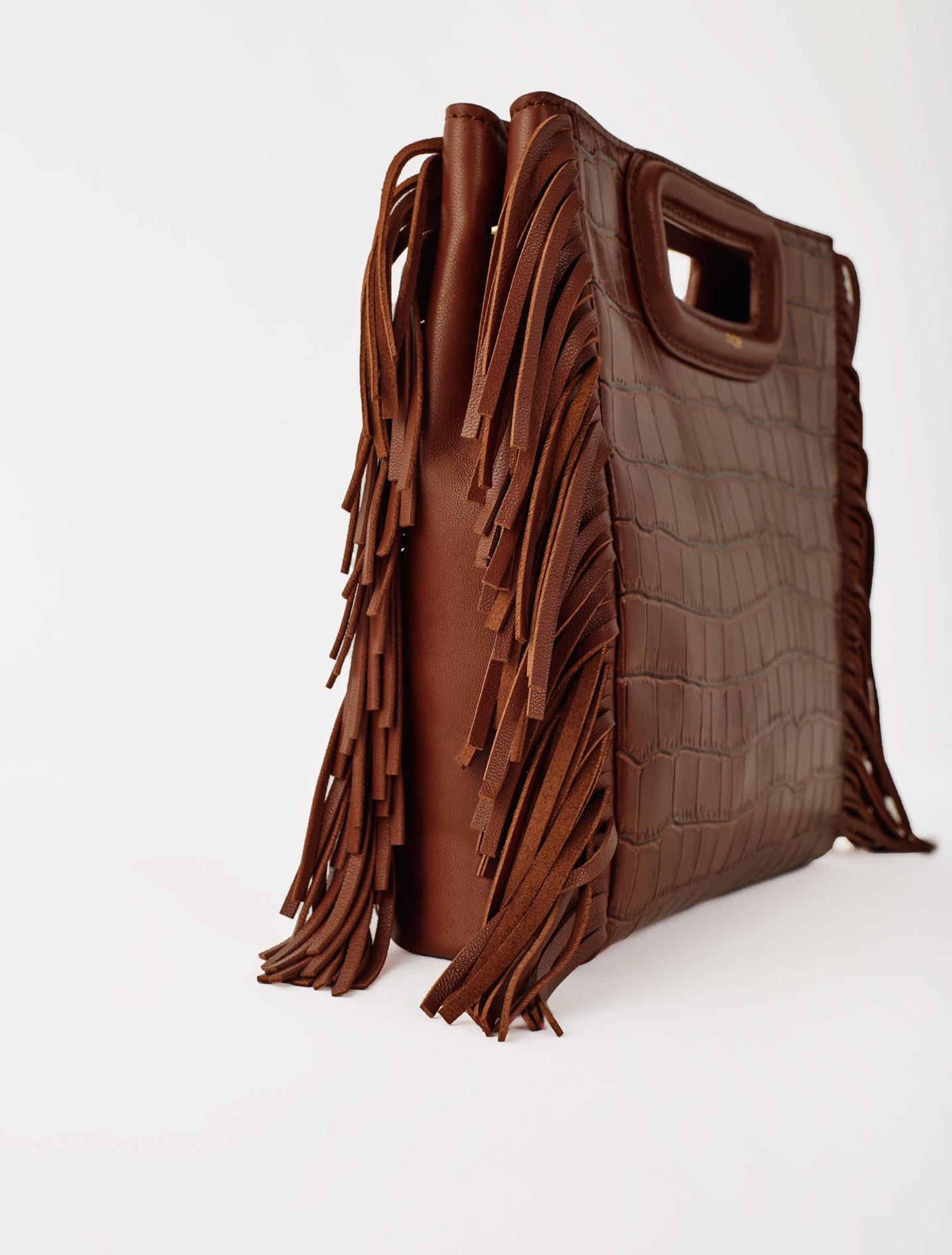 Crocodile embossed leather M bag - Marron