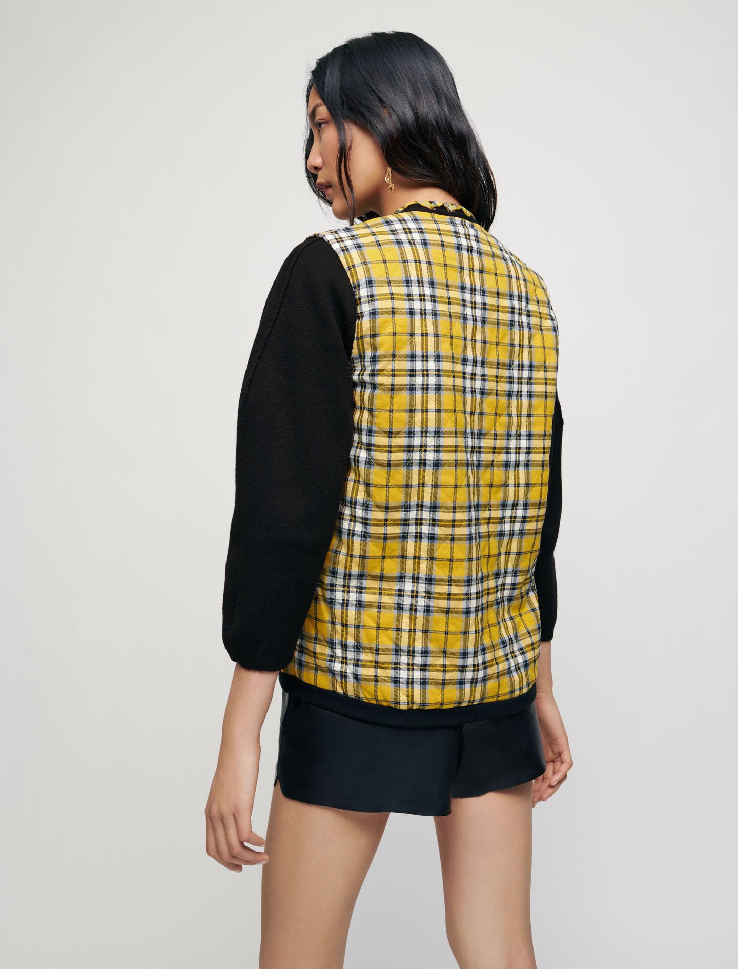 Reversible checked cardigan - Yellow