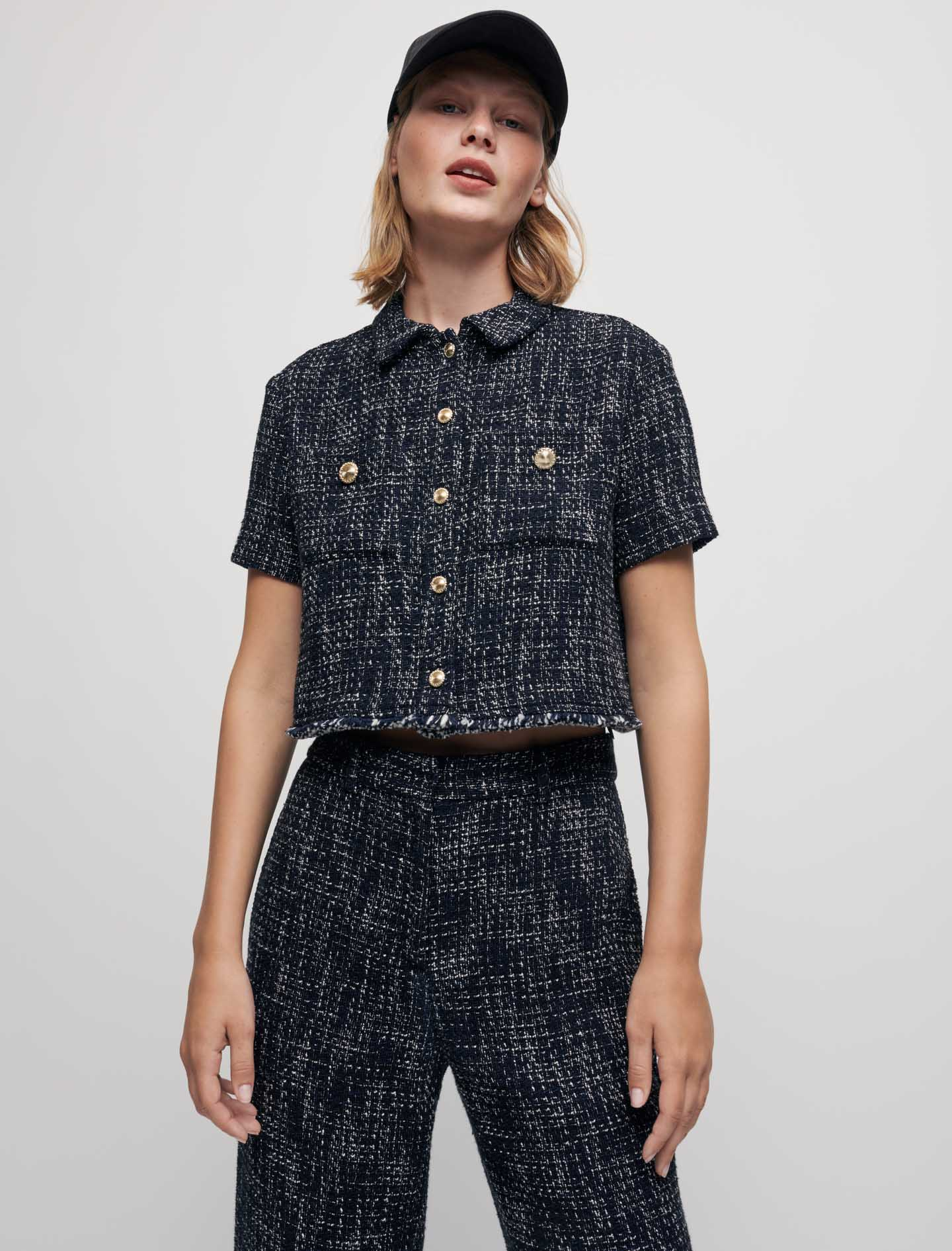 Tweed style cropped shirt - Navy