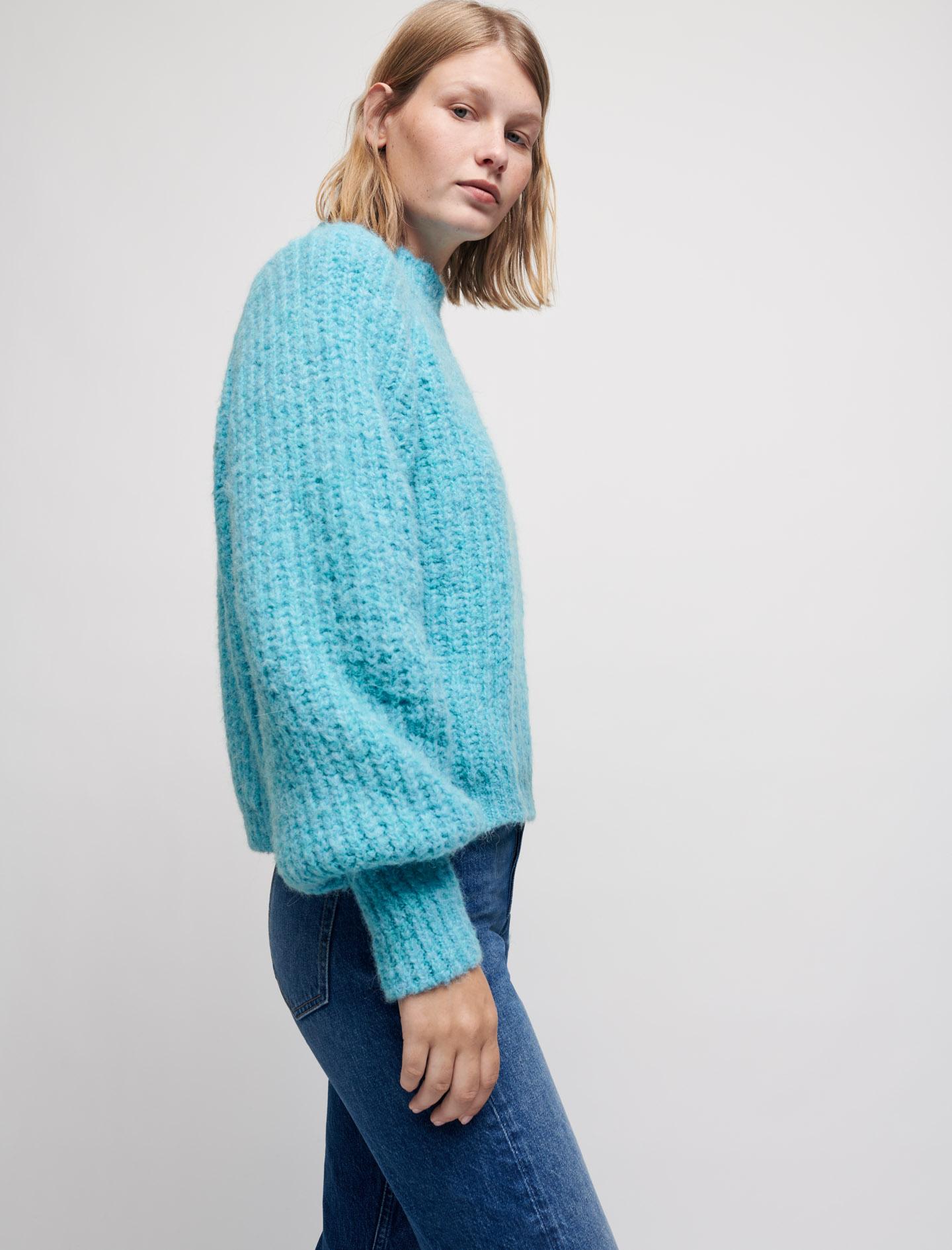 Wool alpaca blend high necked jumper - Blue