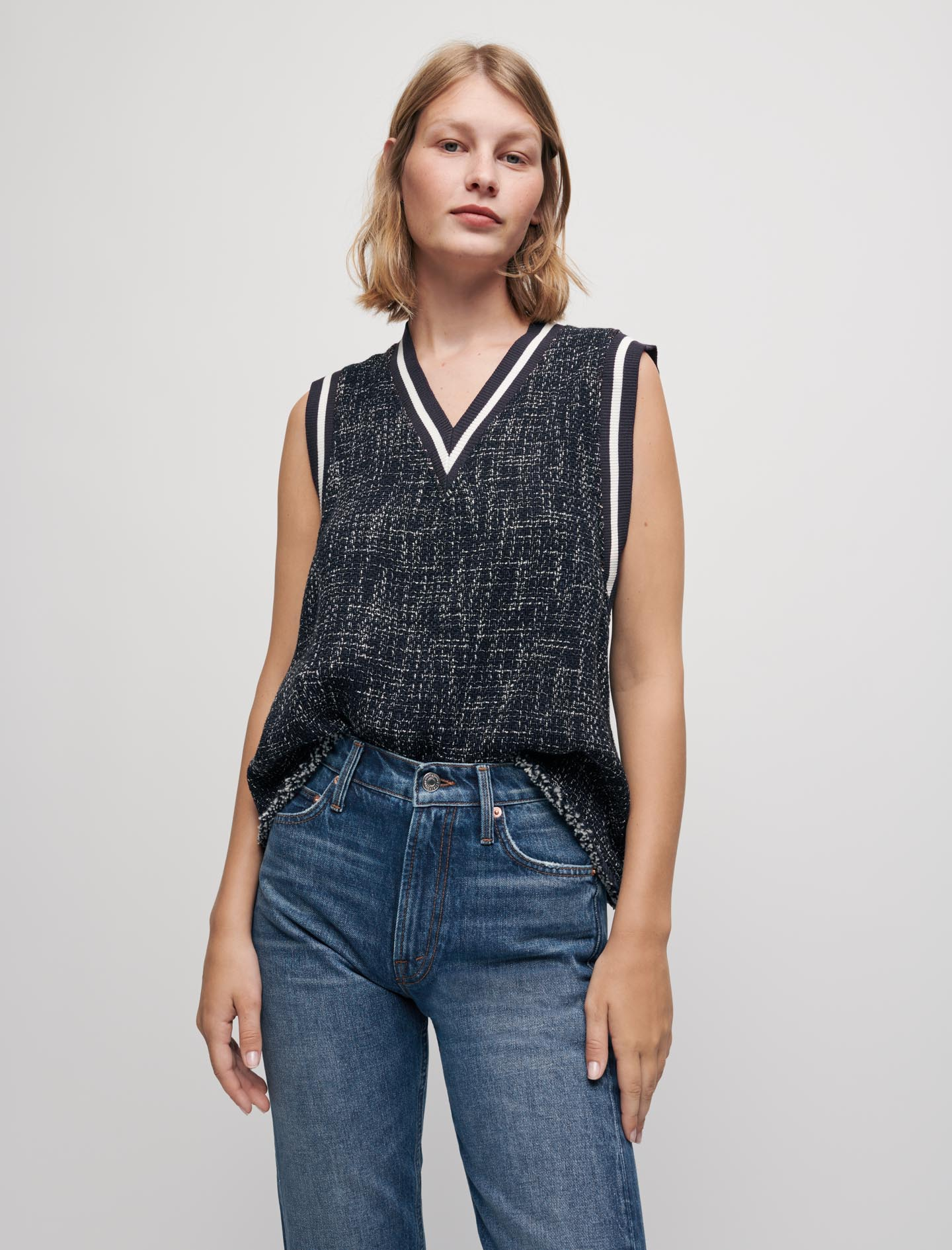 Tweed style top with contrasting bands - Navy