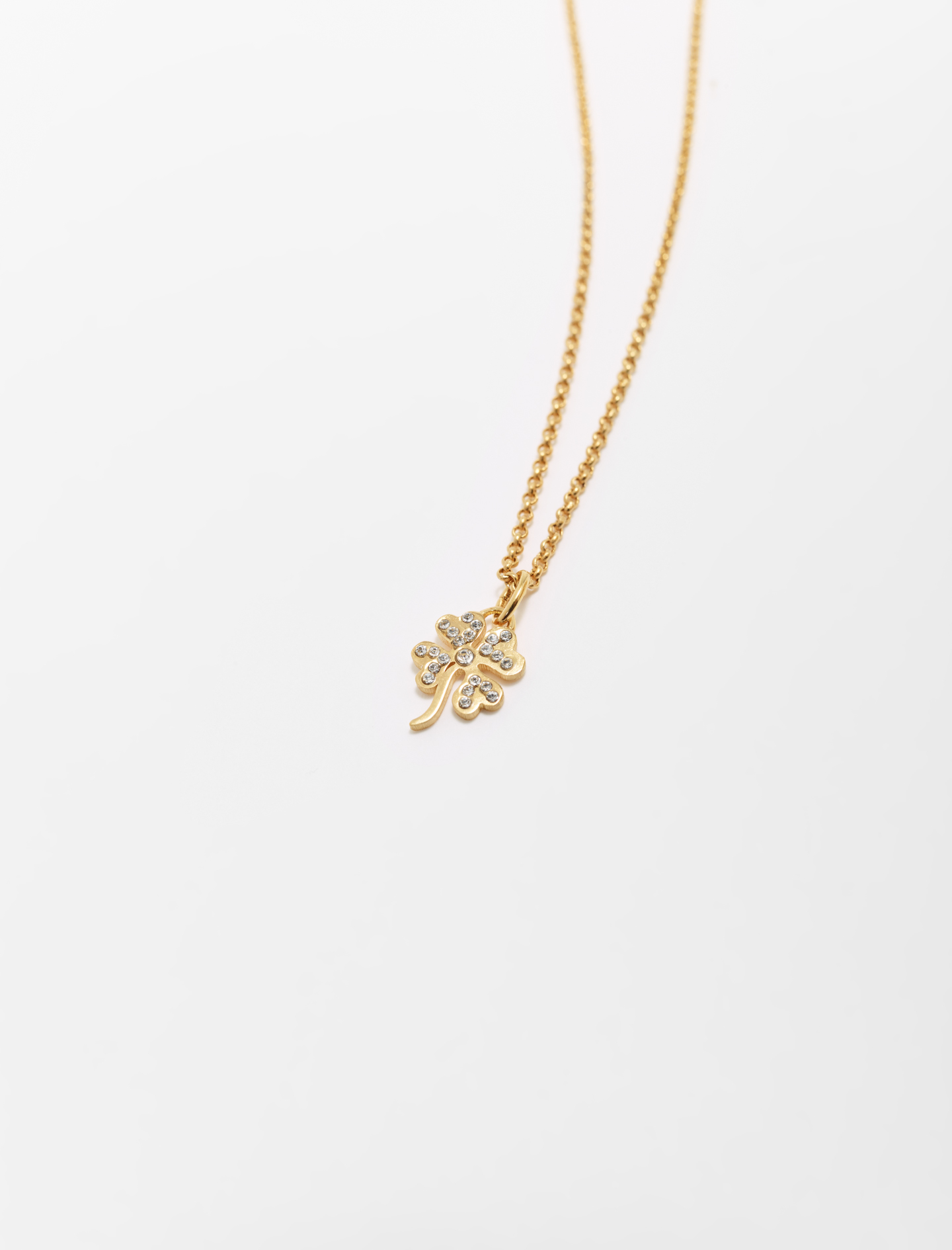 Clover pendant with chain - Gold