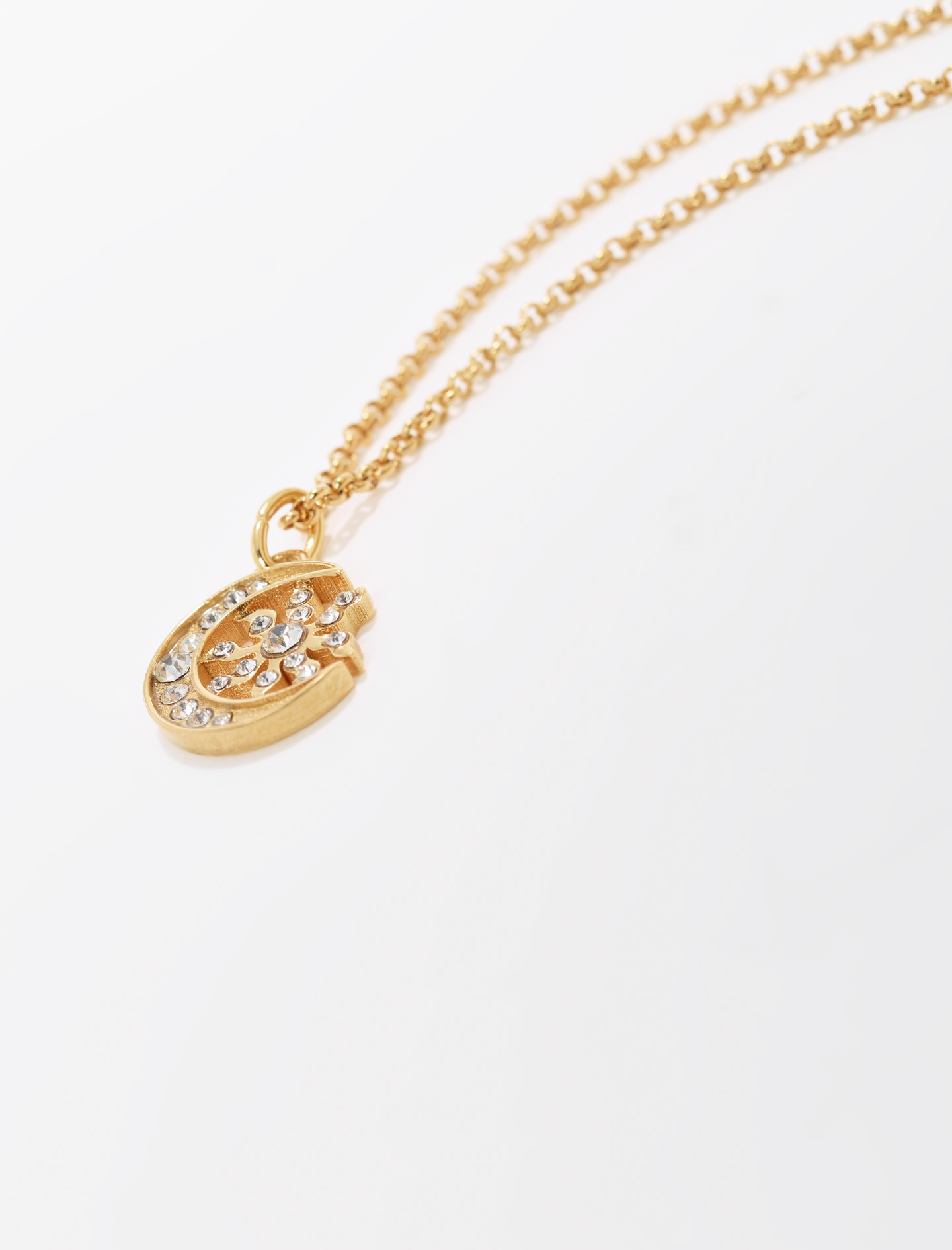 Moon and sun pendant with chain - Gold